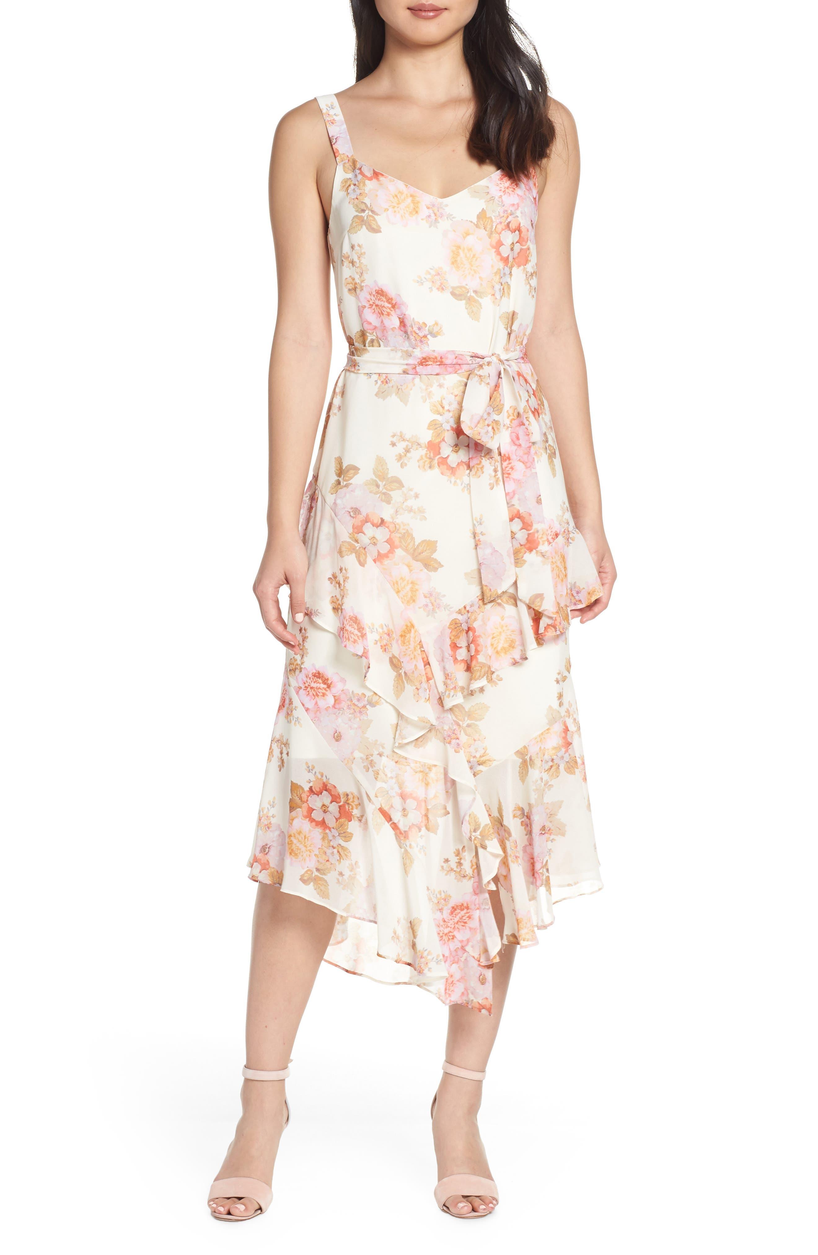 Cooper St Countess Tie Waist Frill Midi Dress, White