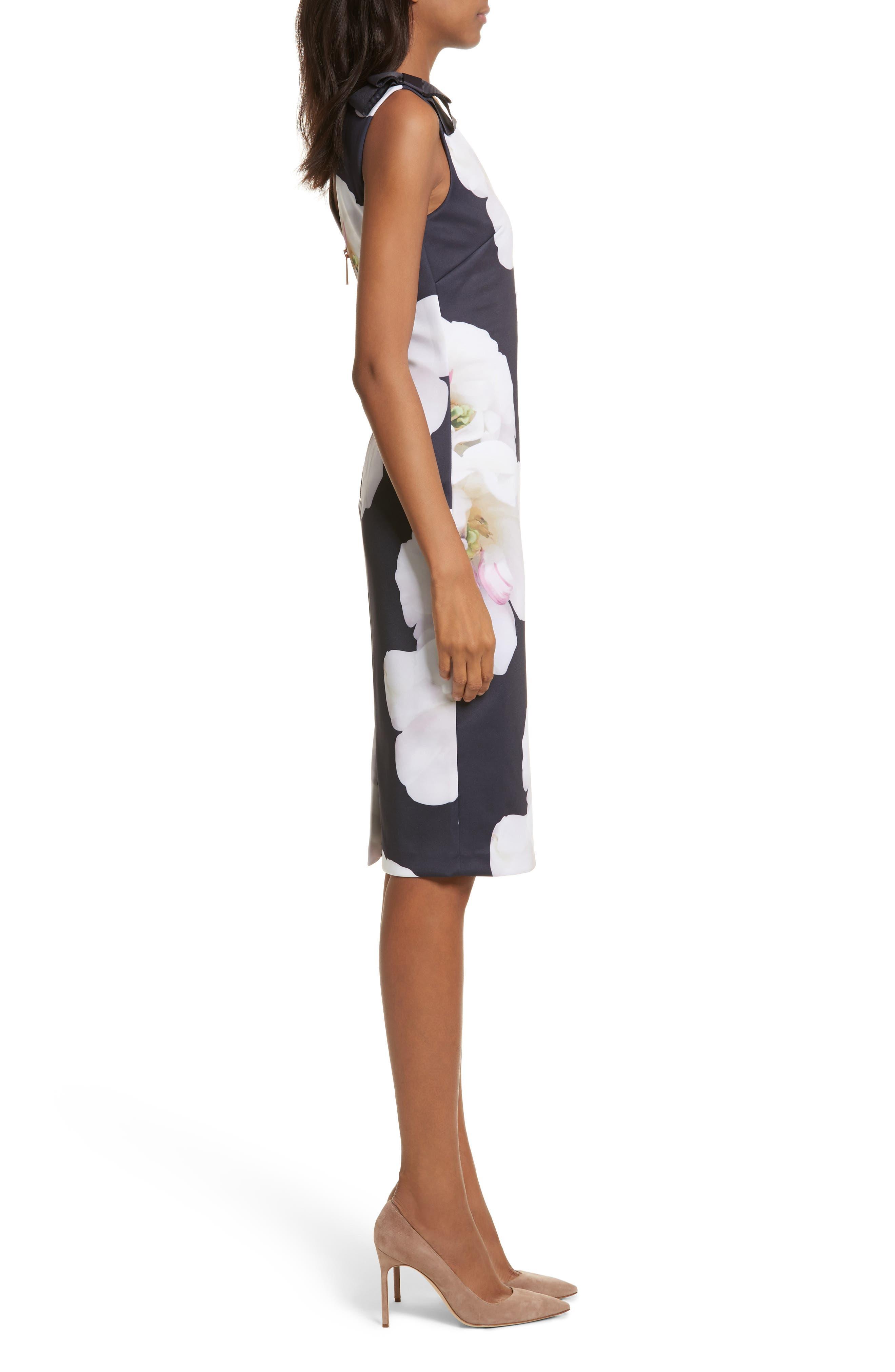 Gardenia Bow Shoulder Body-Con Dress,                             Alternate thumbnail 3, color,