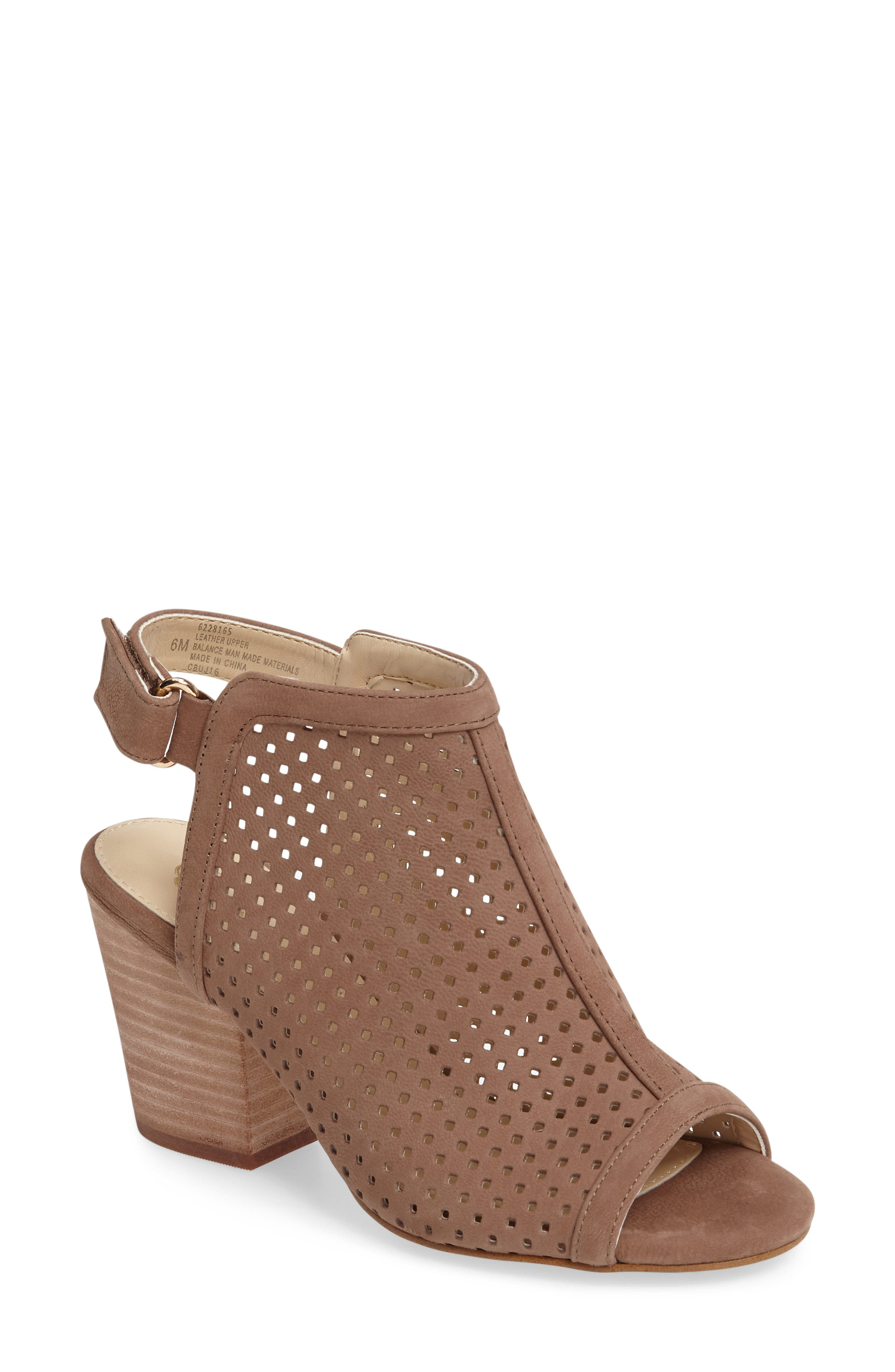 'Lora' Perforated Open-Toe Bootie Sandal,                             Main thumbnail 1, color,                             BARLEY LEATHER