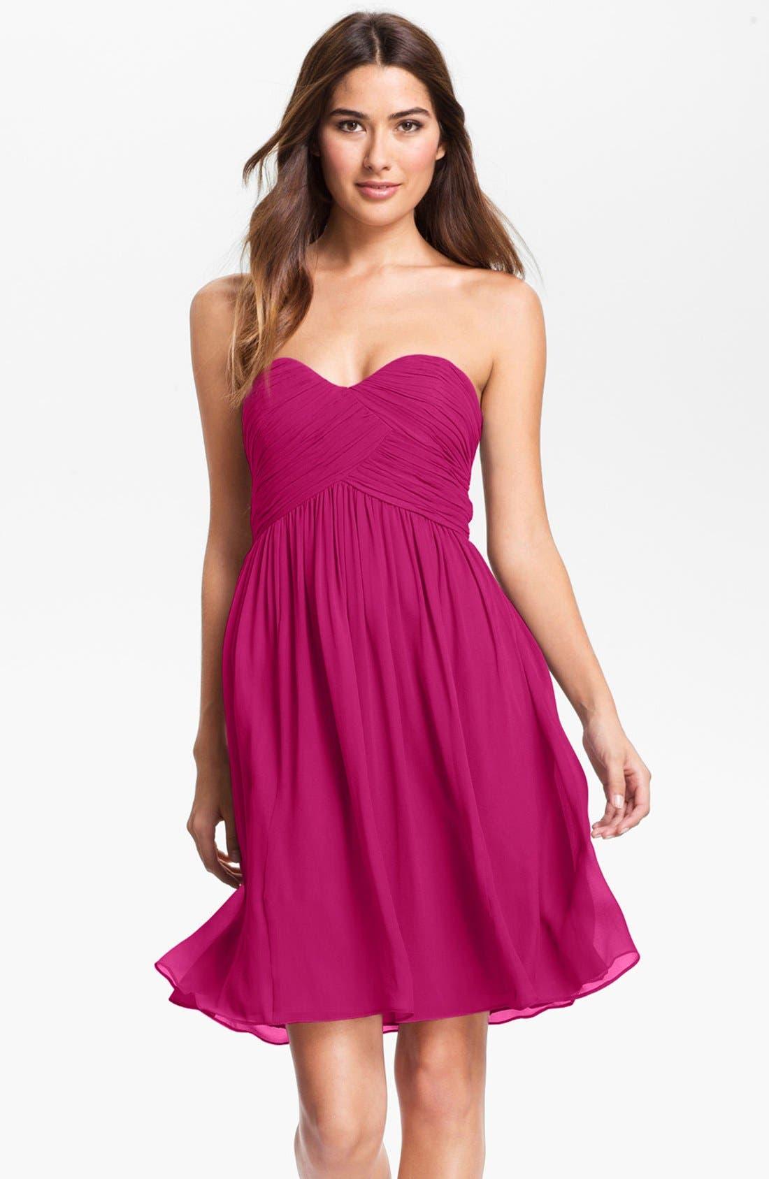 'Morgan' Strapless Silk Chiffon Dress,                             Main thumbnail 31, color,