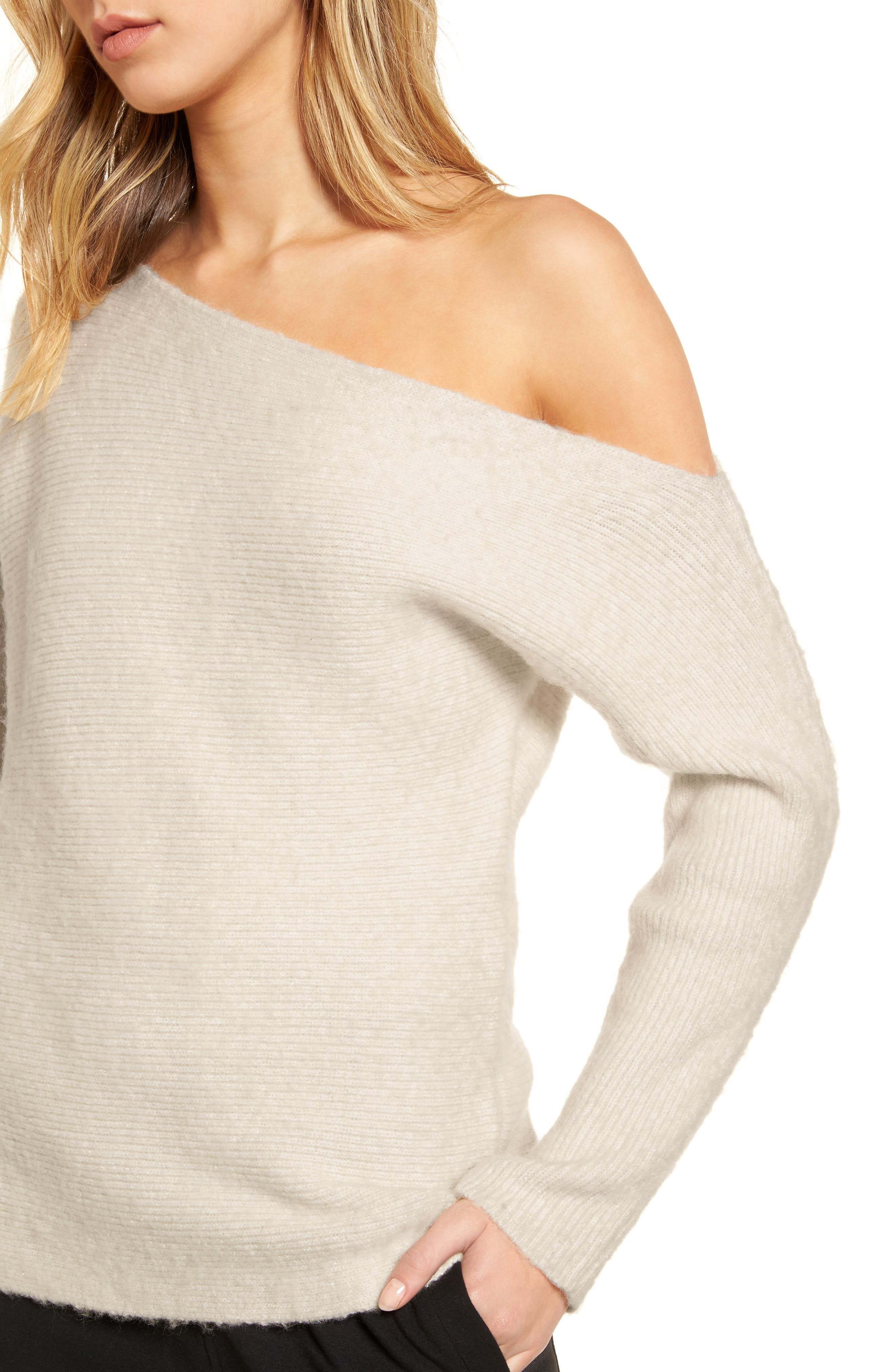 TREASURE & BOND,                             One-Shoulder Ribbed Sweater,                             Alternate thumbnail 4, color,                             BEIGE OATMEAL LIGHT HEATHER