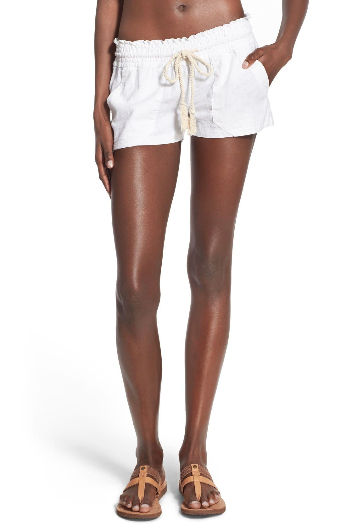 'Oceanside' Linen Blend Shorts,                         Main,                         color, SEA SALT
