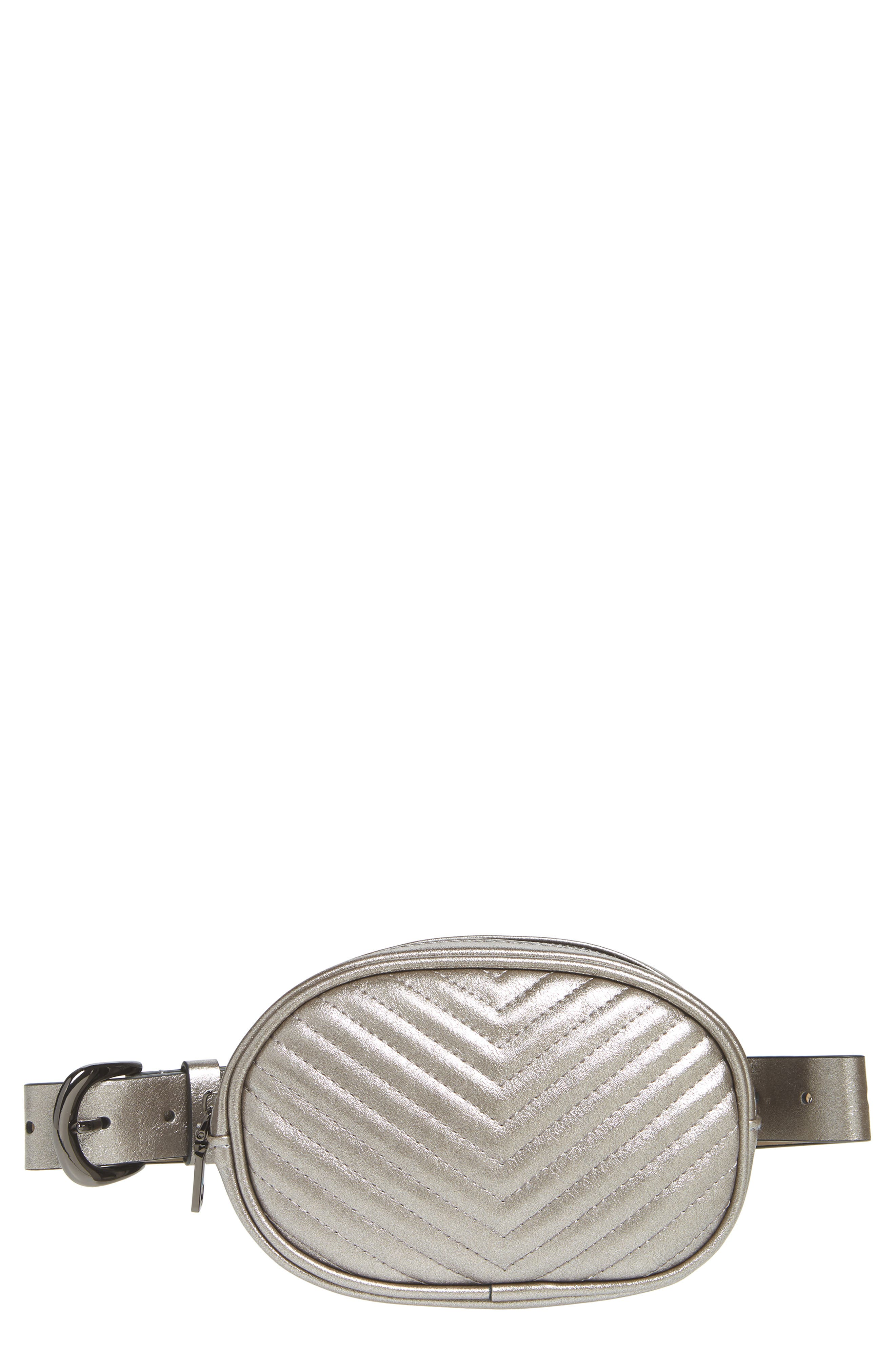 Chevron Quilted Metallic Faux Leather Belt Bag,                             Main thumbnail 1, color,                             PEWTER