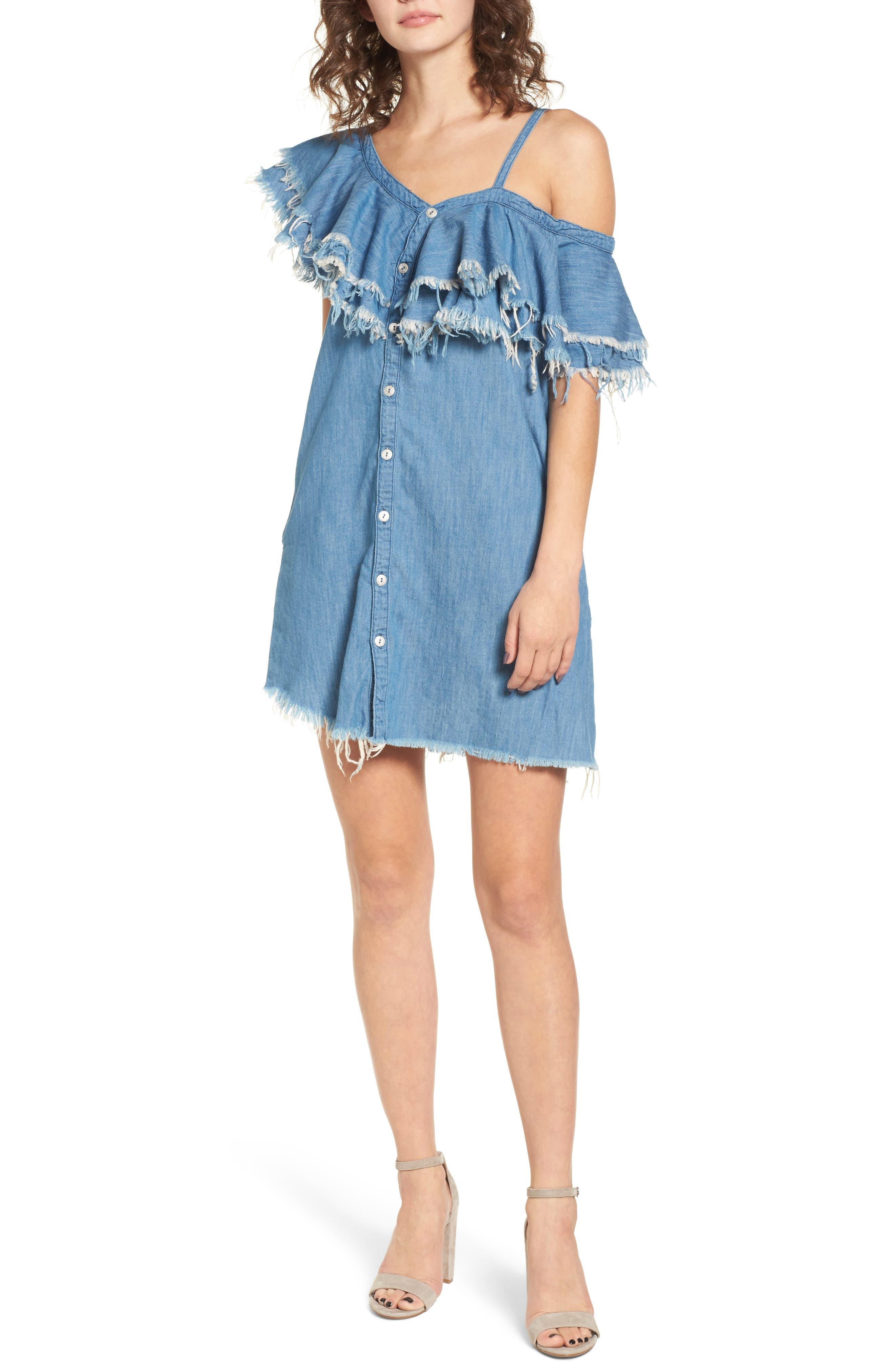 Asymmetric Ruffle Shift Dress,                         Main,                         color,