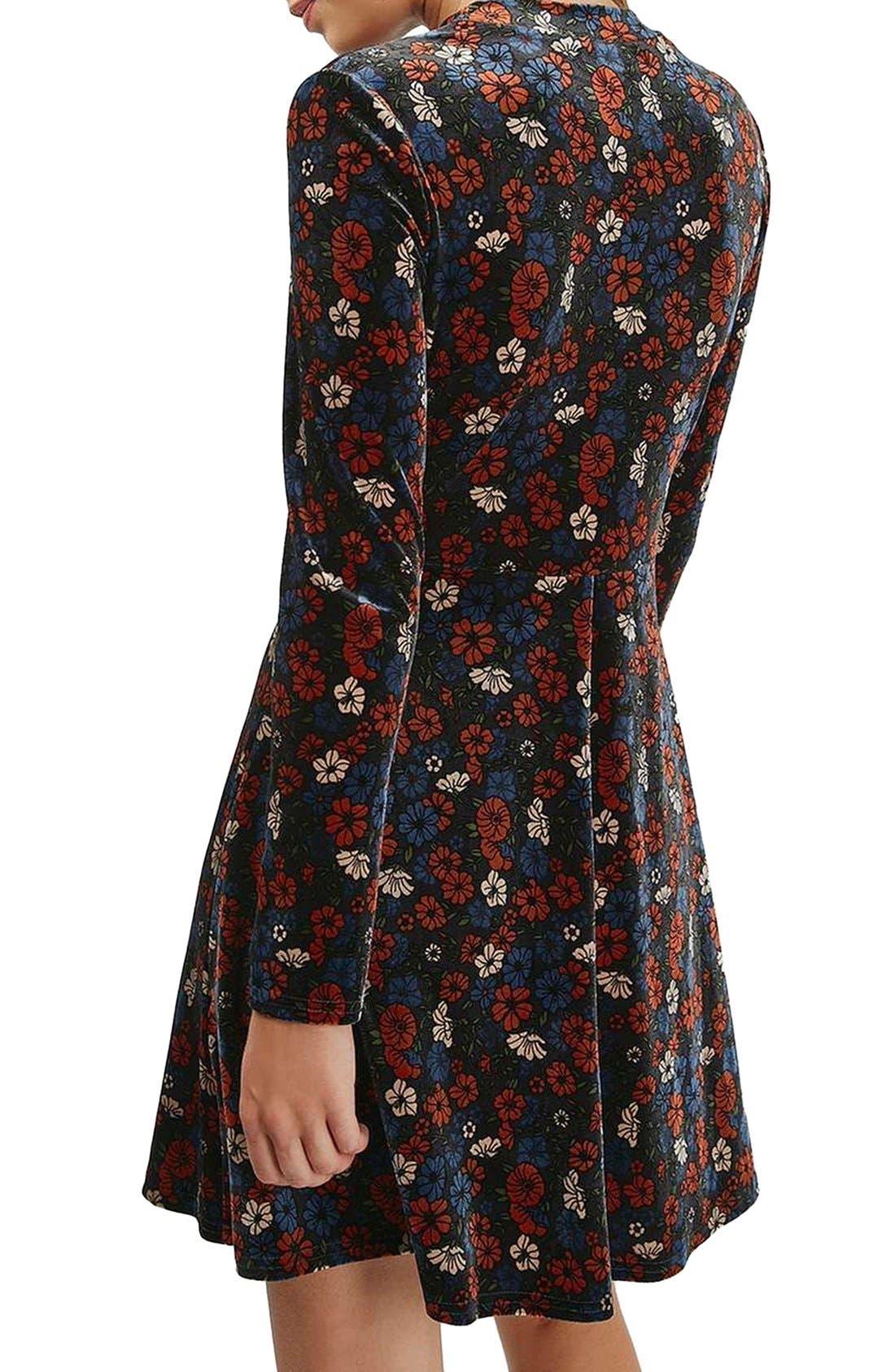 Ditsy Print Velvet Skater Dress,                             Alternate thumbnail 3, color,                             400