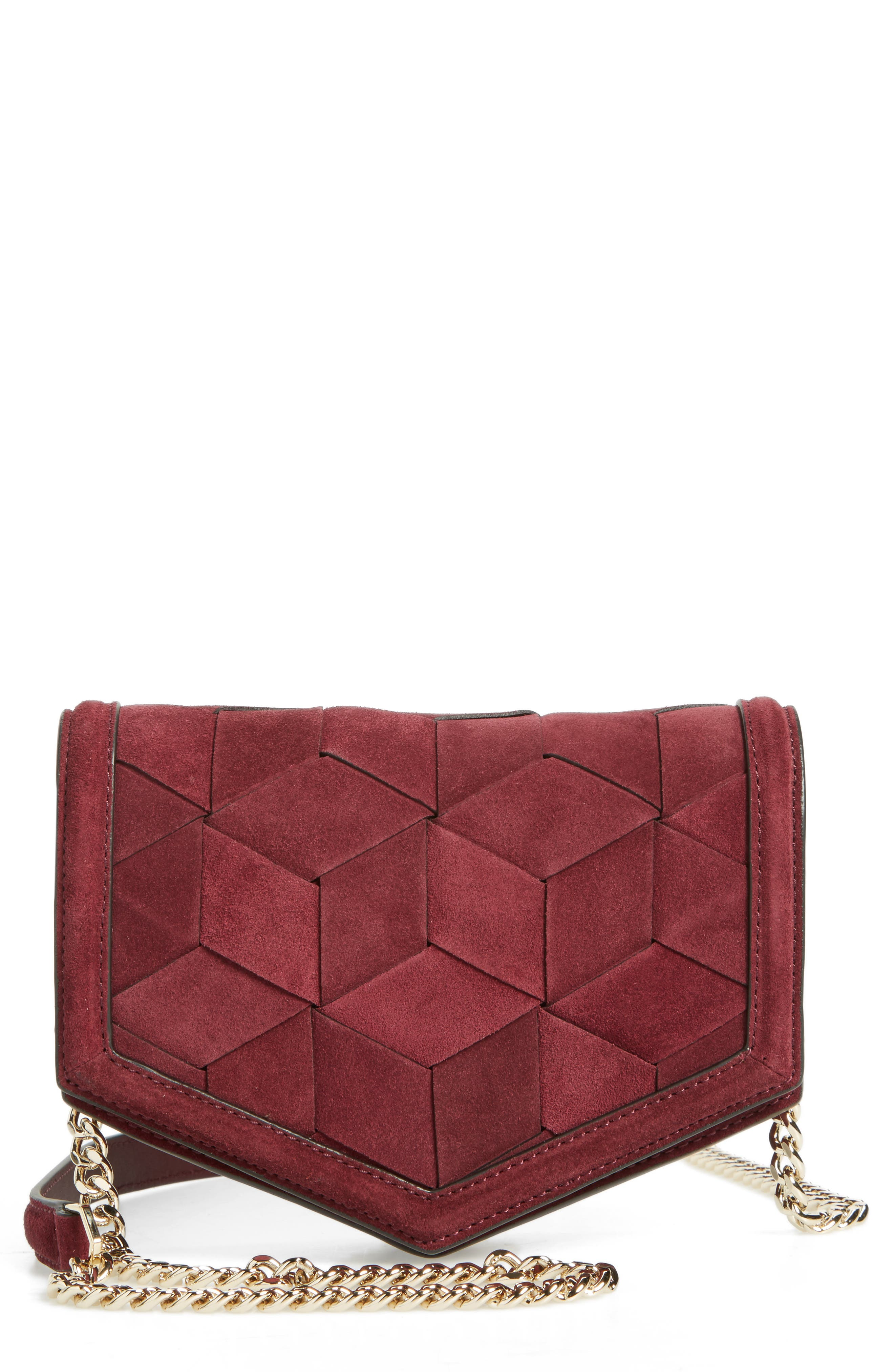 Jaunt Woven Calfskin Suede Wallet on a Chain,                             Main thumbnail 2, color,