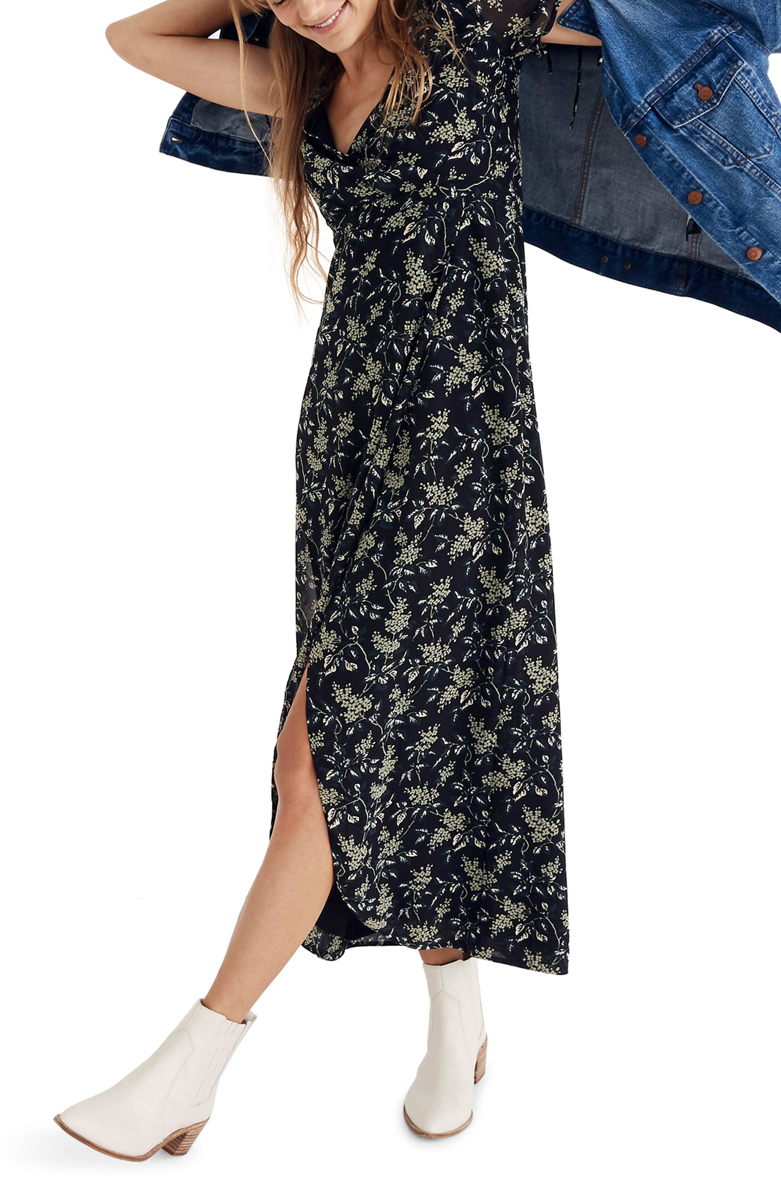 Tulip Sleeve Maxi Dress,                         Main,                         color, CLASSIC BLACK