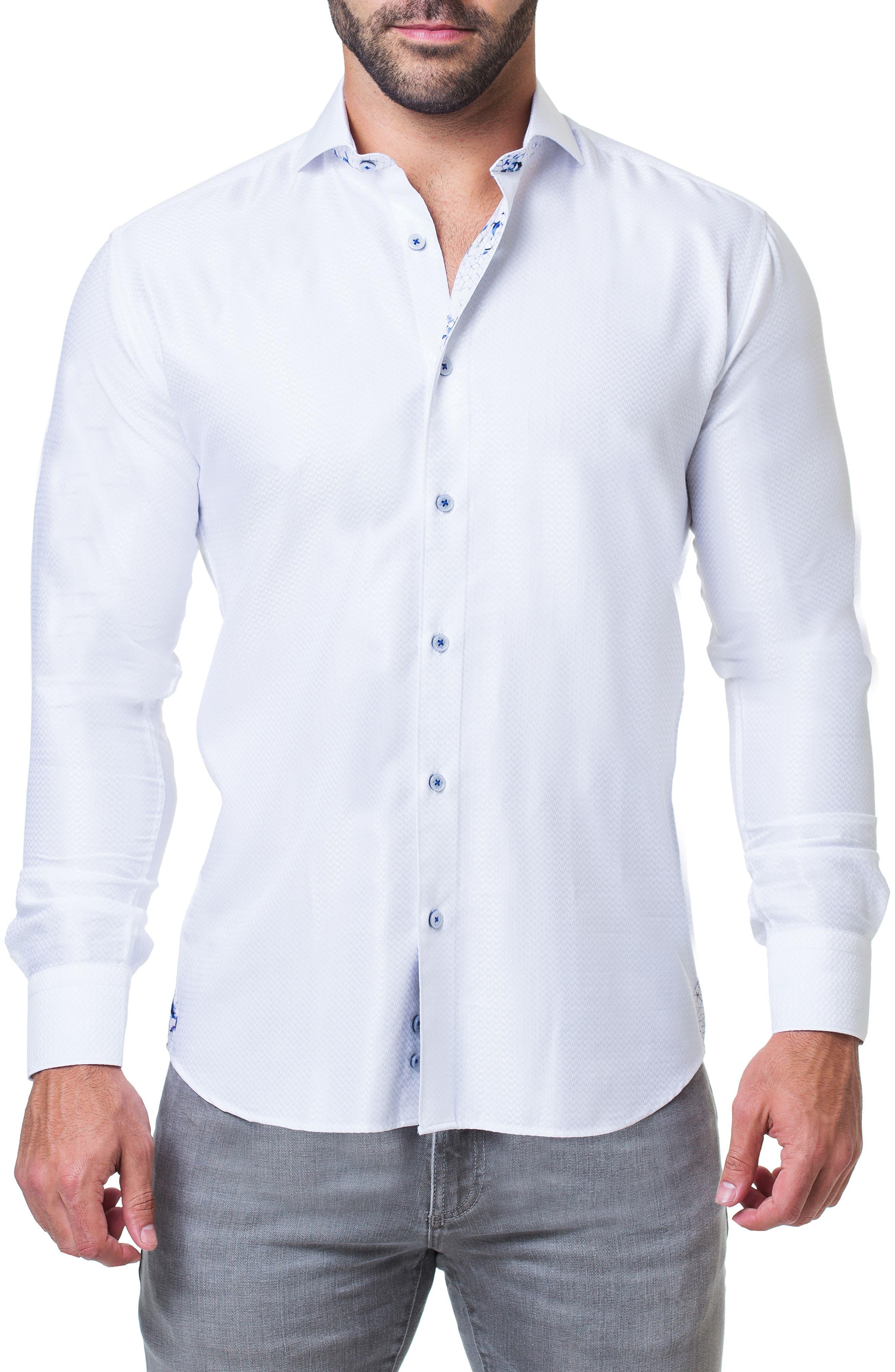 Einstein Ripple Trim Fit Sport Shirt, Main, color, 110