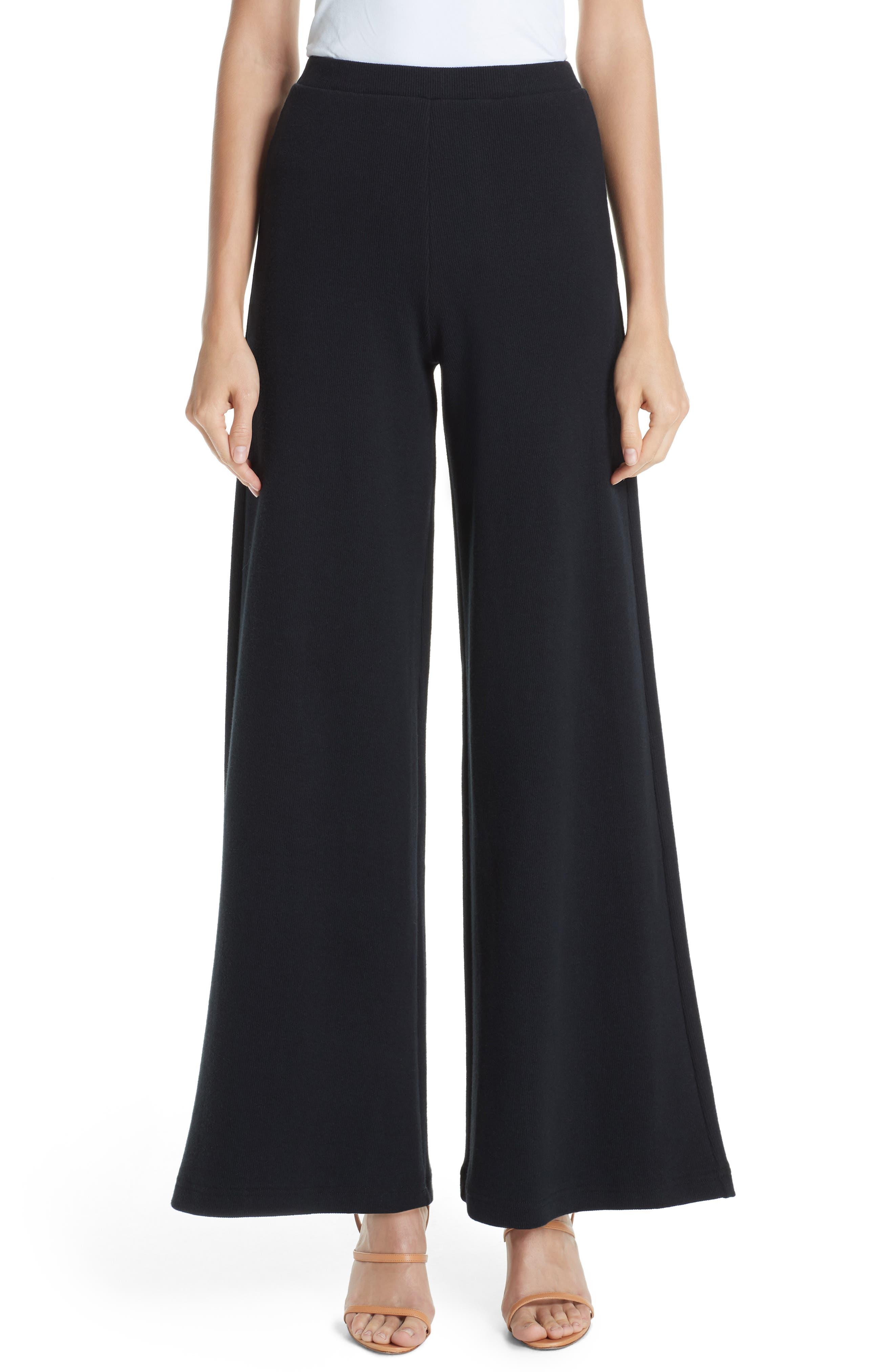 Wide Leg Rib Pants,                         Main,                         color, BLACK