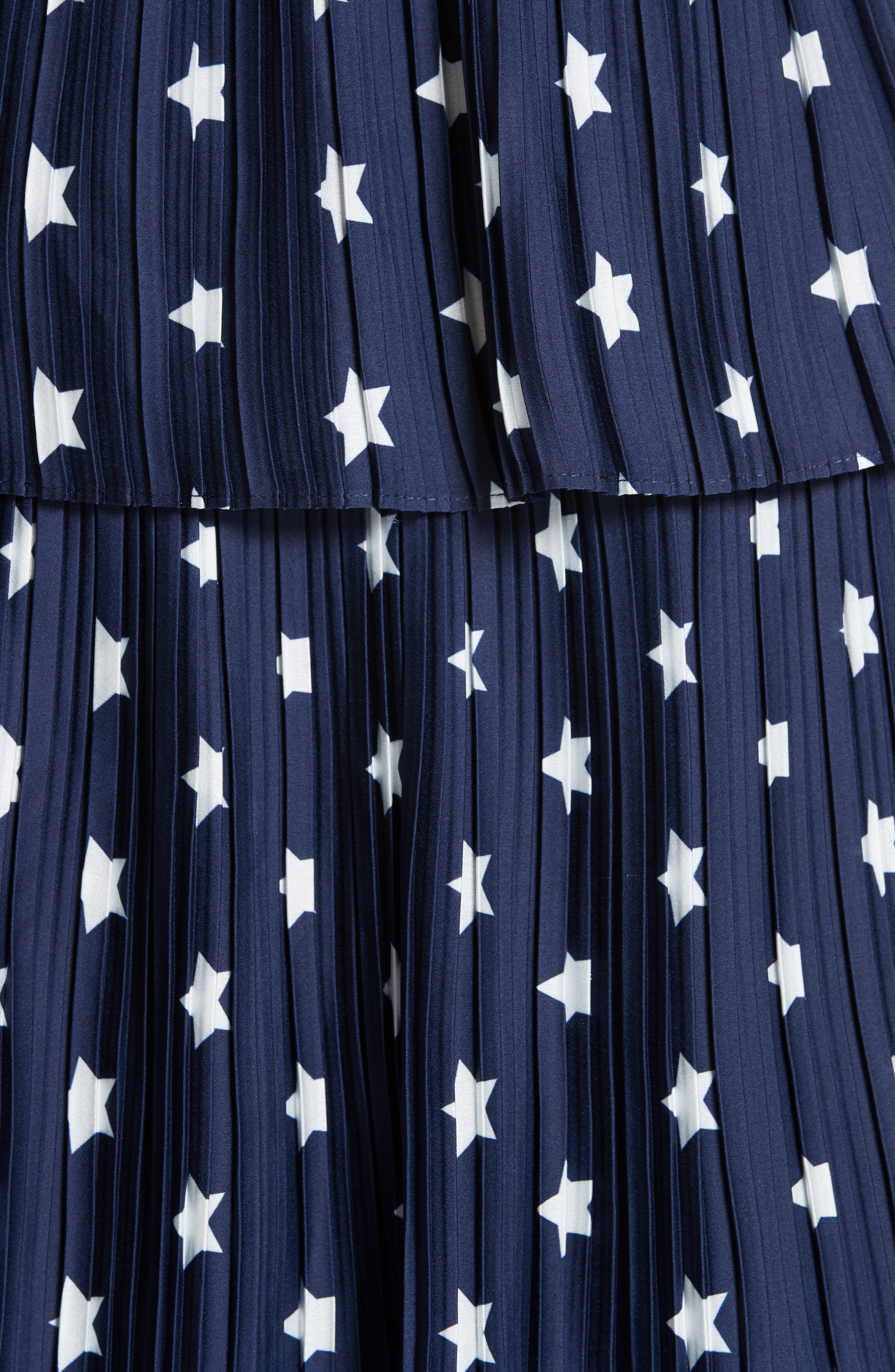 Star Print Tiered Midi Dress,                             Alternate thumbnail 5, color,                             400