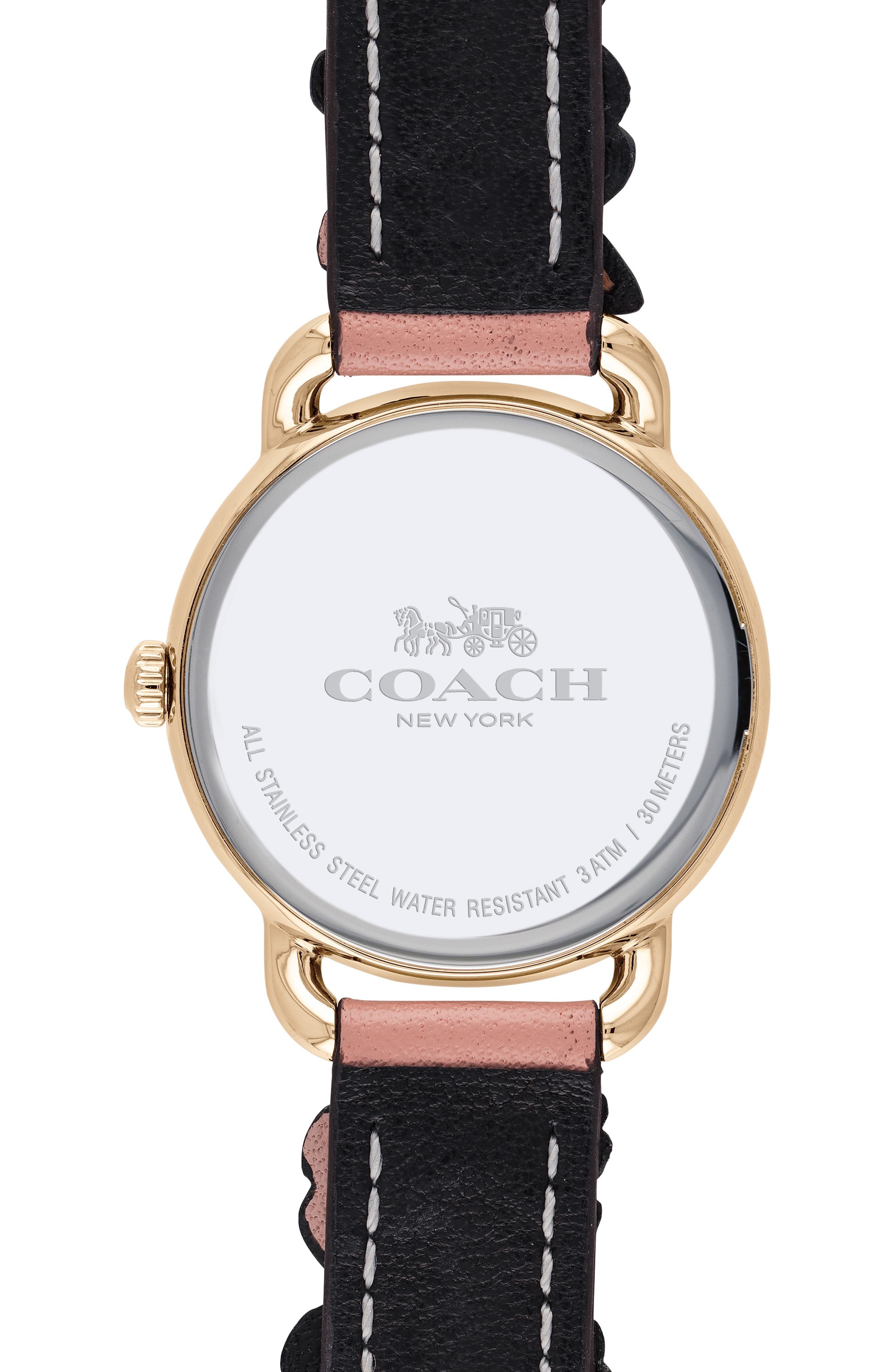 Delancey Floral Leather Strap Watch, 28mm,                             Alternate thumbnail 2, color,                             PINK/ WHITE/ ROSE GOLD