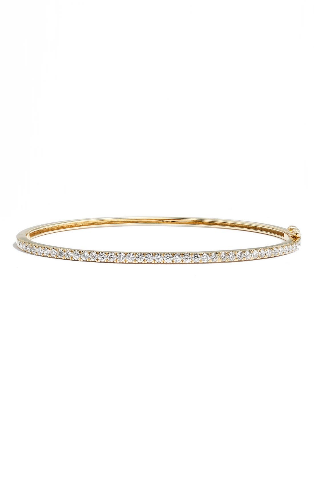 'Stackable' Large Skinny Diamond Bangle,                             Main thumbnail 1, color,                             YELLOW GOLD