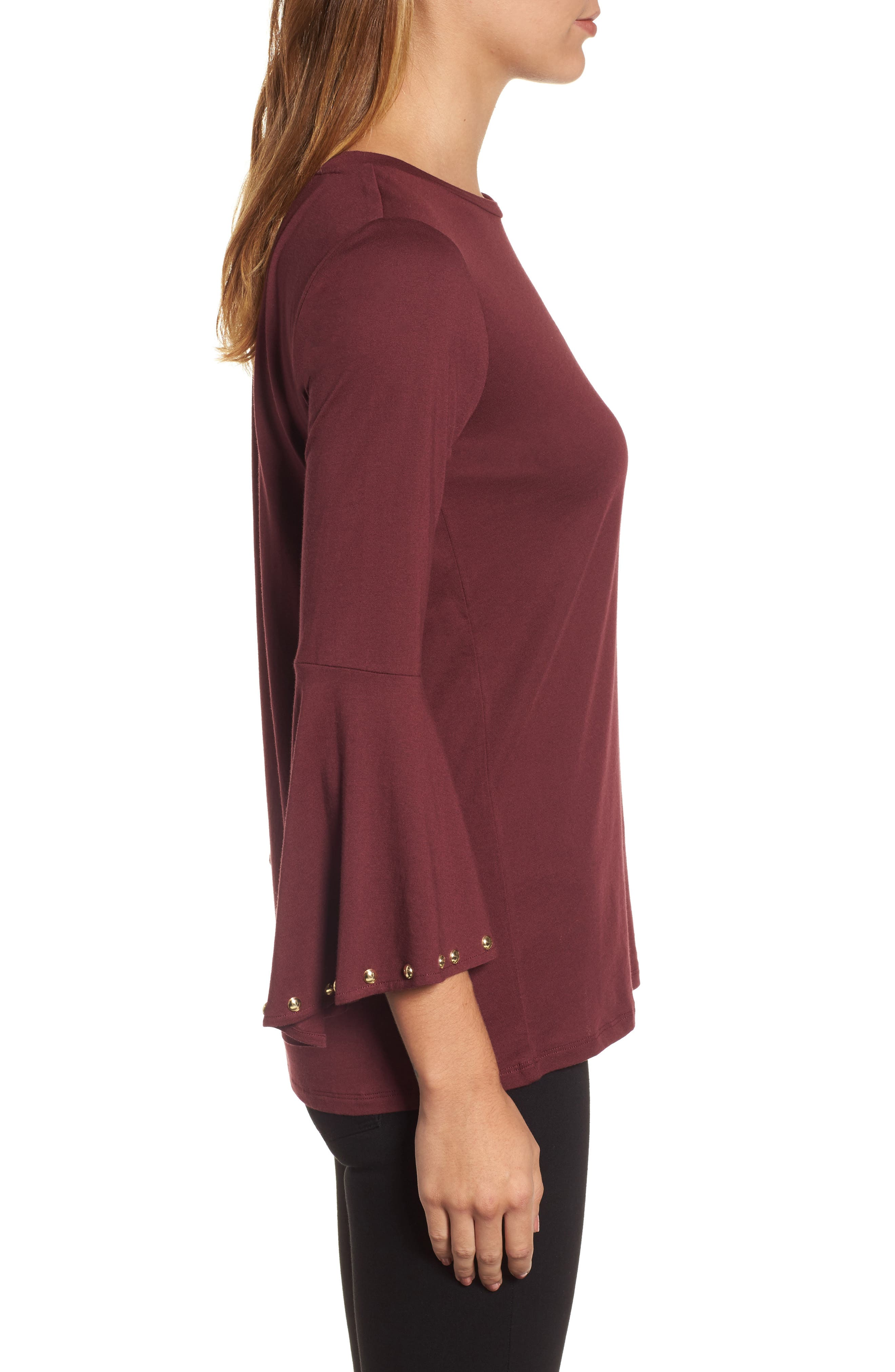 High/Low Bell Sleeve Top,                             Alternate thumbnail 9, color,