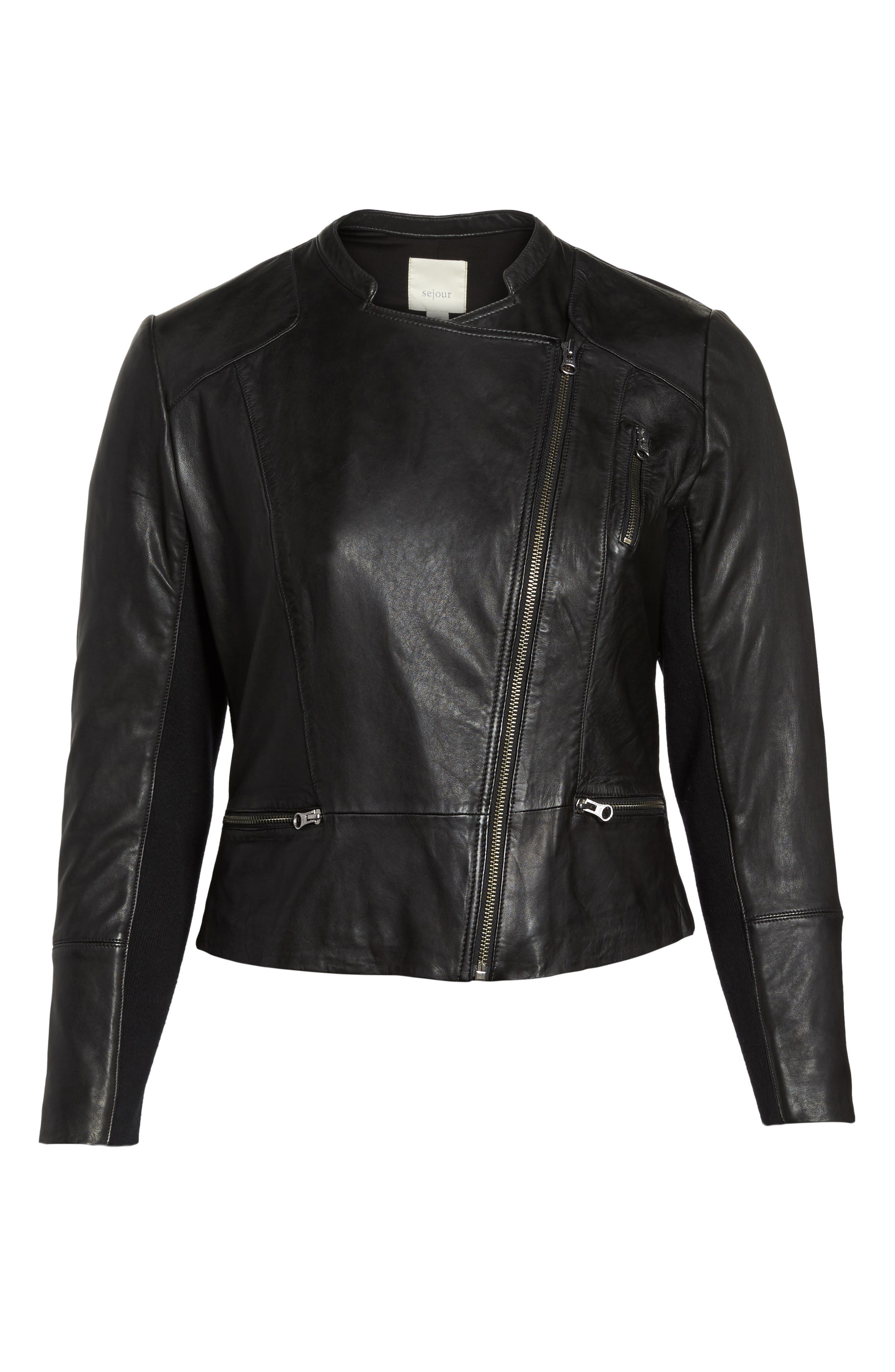 Leather Moto Jacket,                             Alternate thumbnail 5, color,                             001