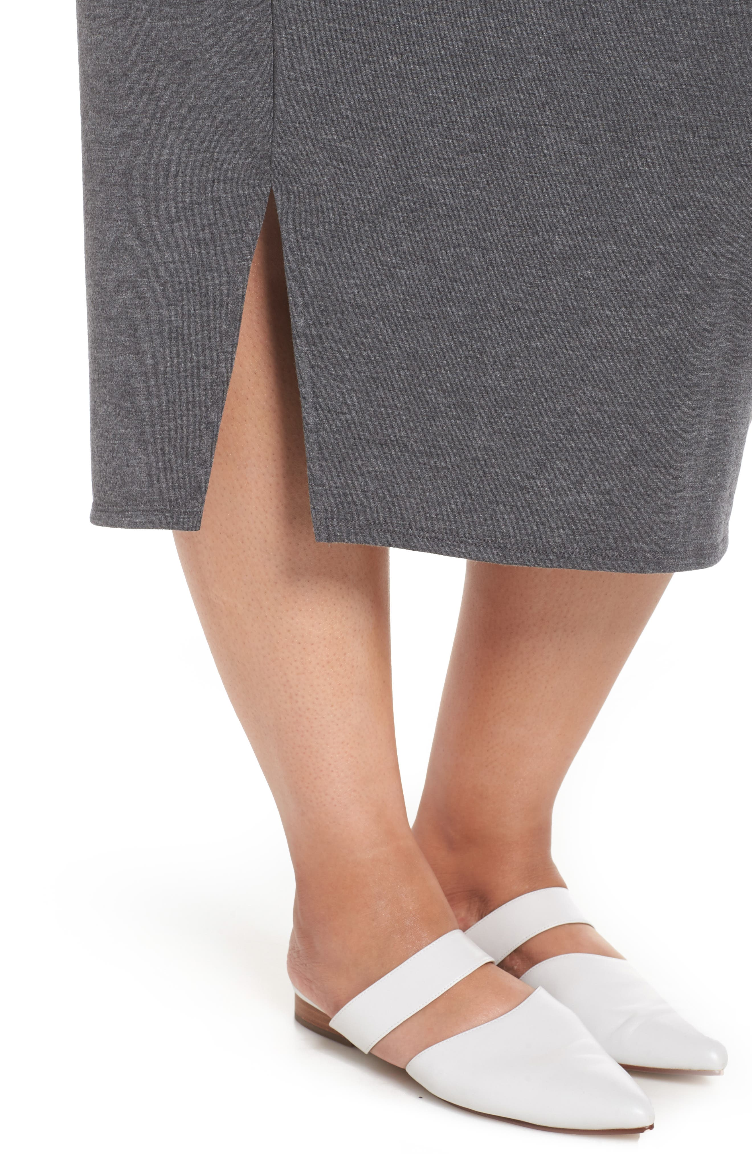 Off Duty Knit Skirt,                             Alternate thumbnail 4, color,                             GREY DARK CHARCOAL HEATHER
