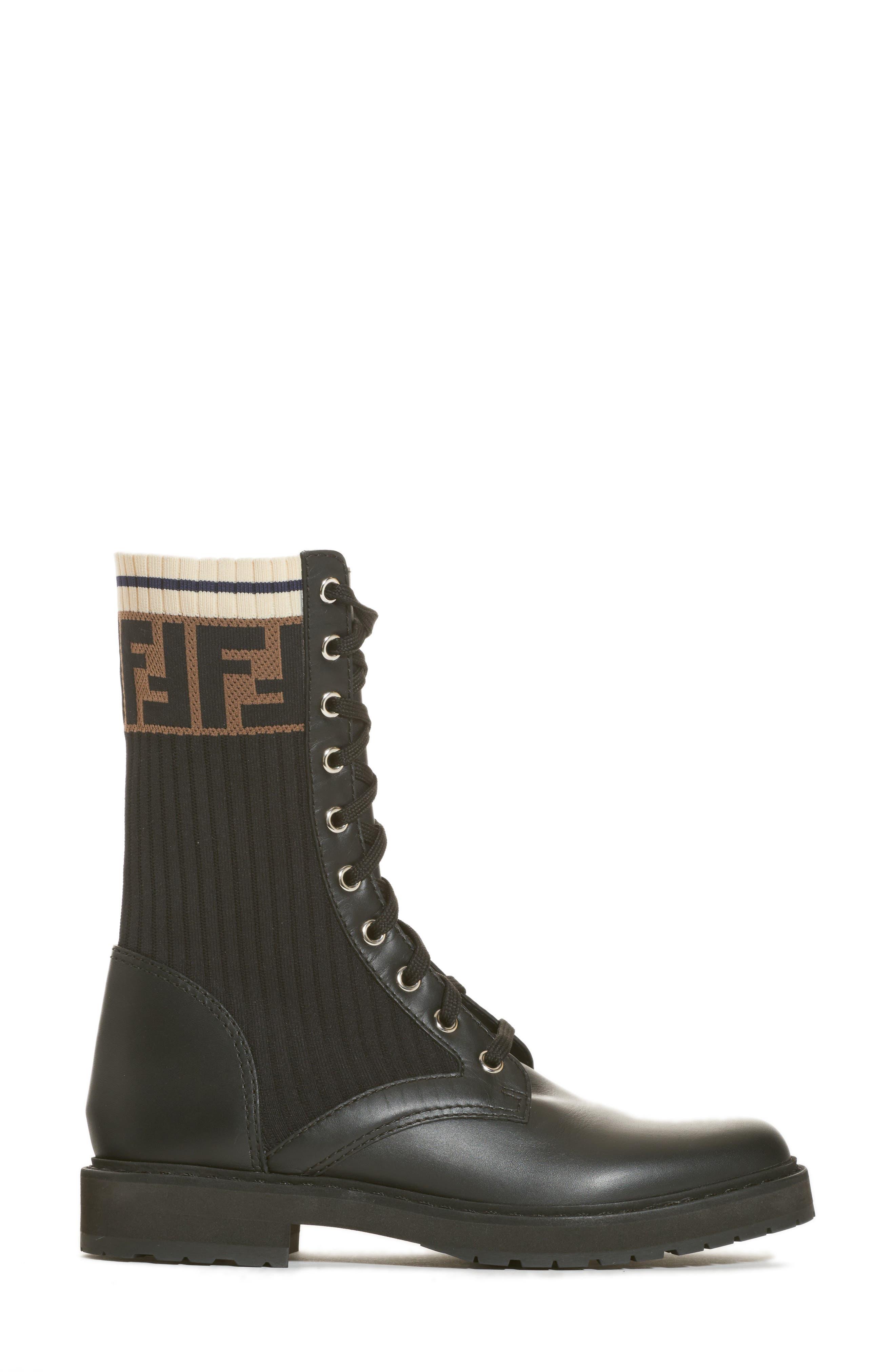 FENDI,                             Rockoko Chelsea Sock Combat Boot,                             Alternate thumbnail 3, color,                             004