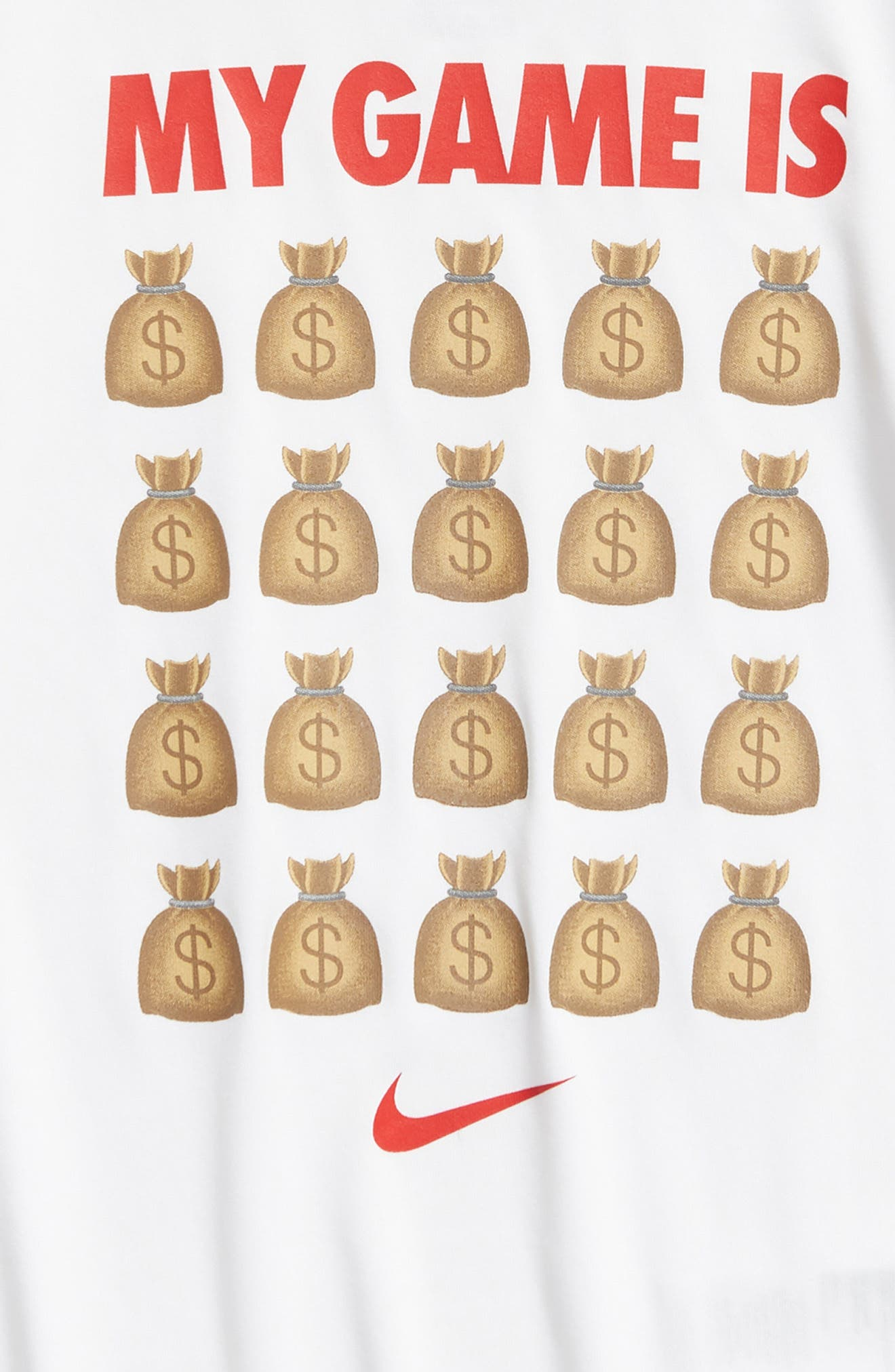 NIKE,                             Dry My Game is Money Graphic T-Shirt,                             Alternate thumbnail 2, color,                             WHITE
