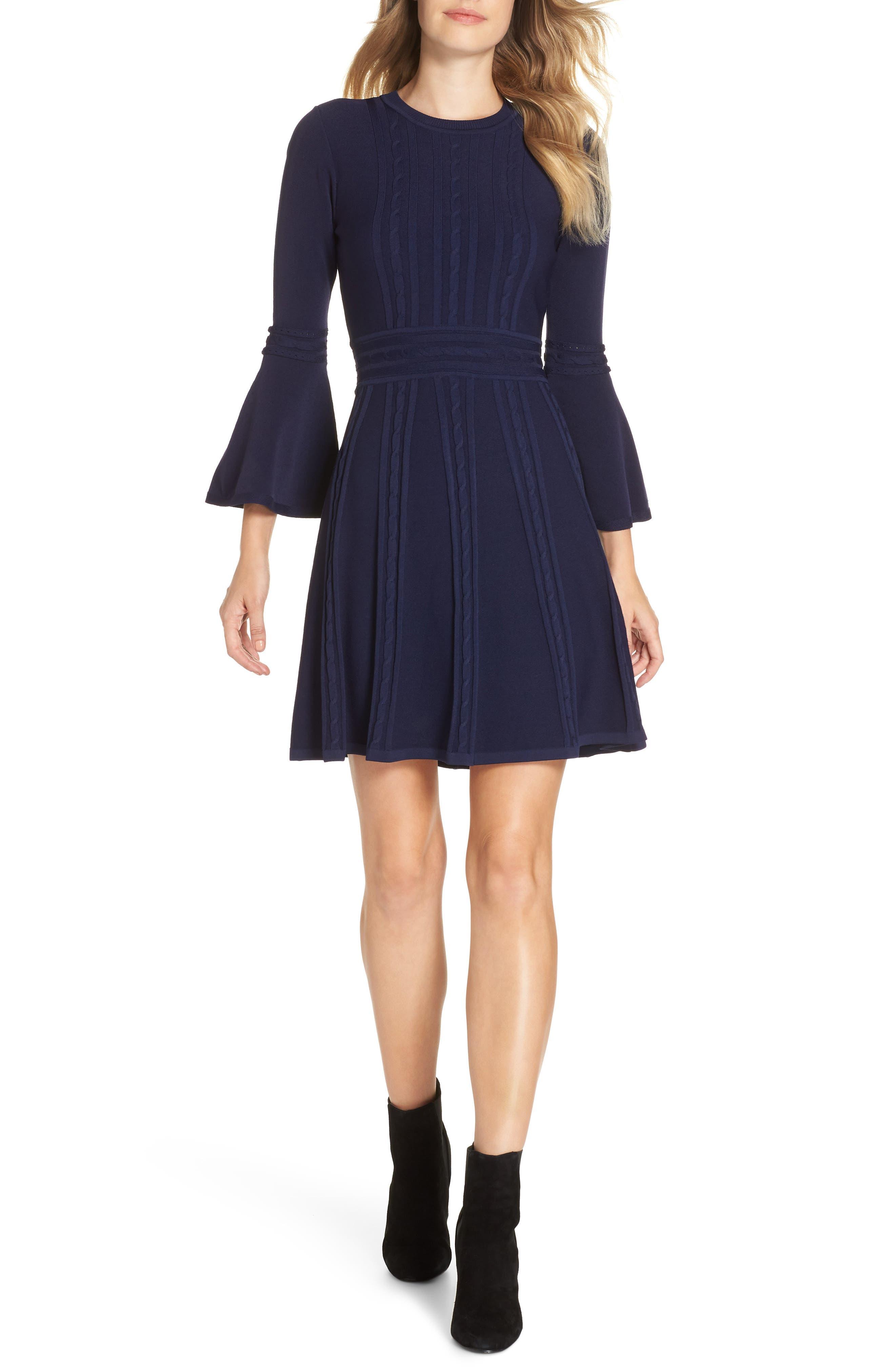 Eliza J Bell Sleeve Sweater Dress, Blue