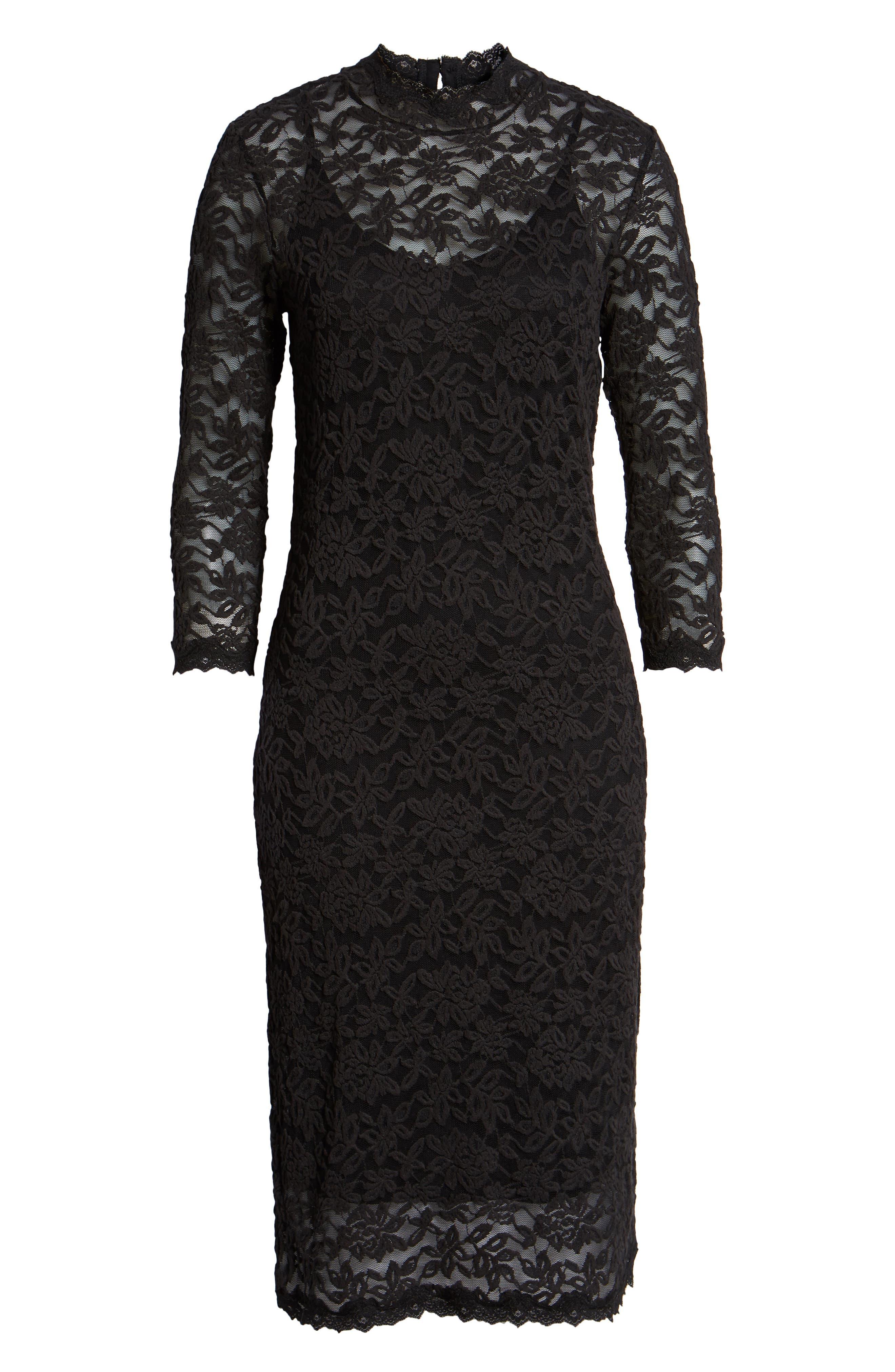 Delicia Lace Body-Con Dress,                             Alternate thumbnail 7, color,                             BLACK SILVER