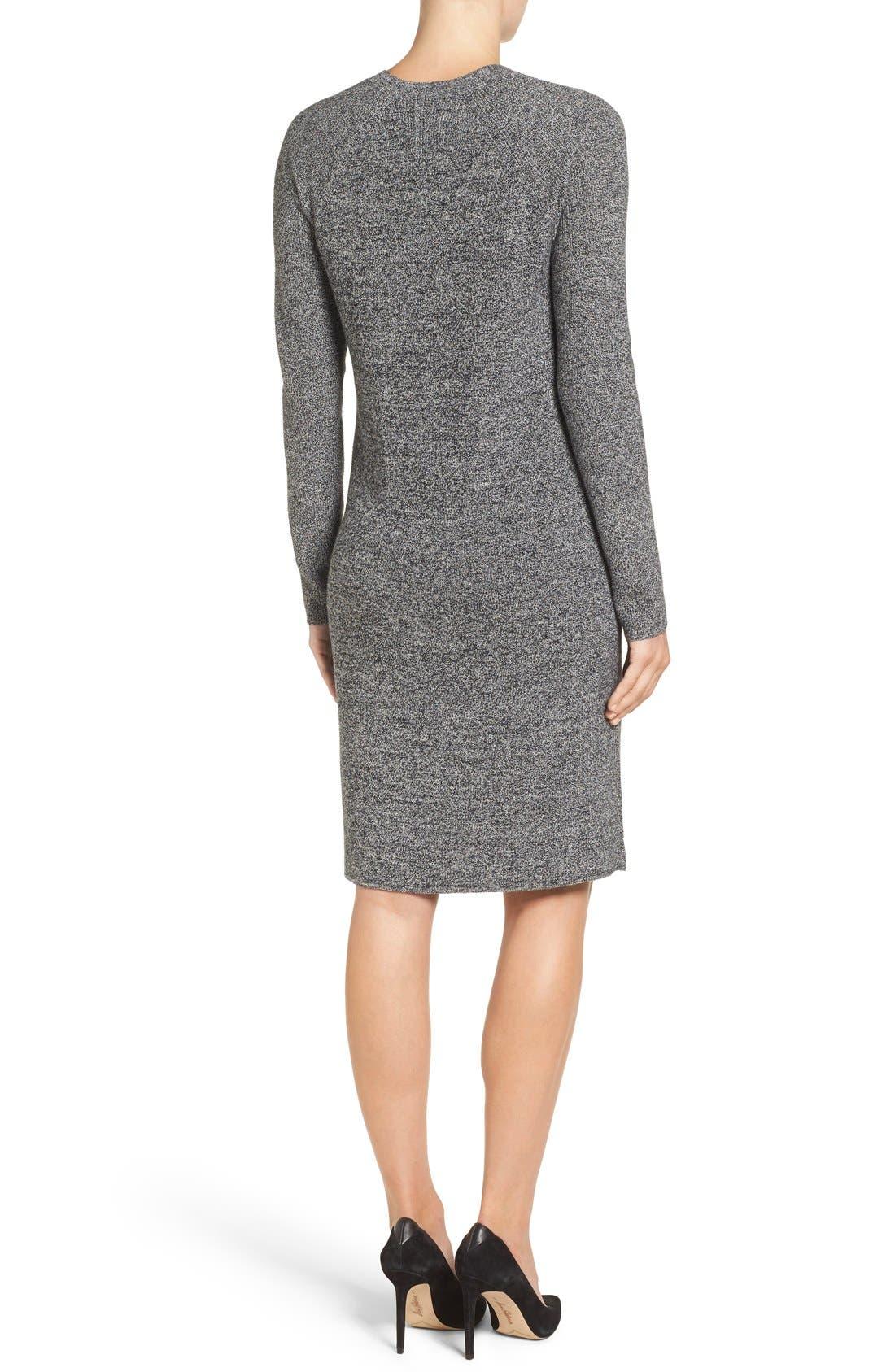 V-Neck Sweater Dress,                             Alternate thumbnail 11, color,                             BLACK- WHITE MARL