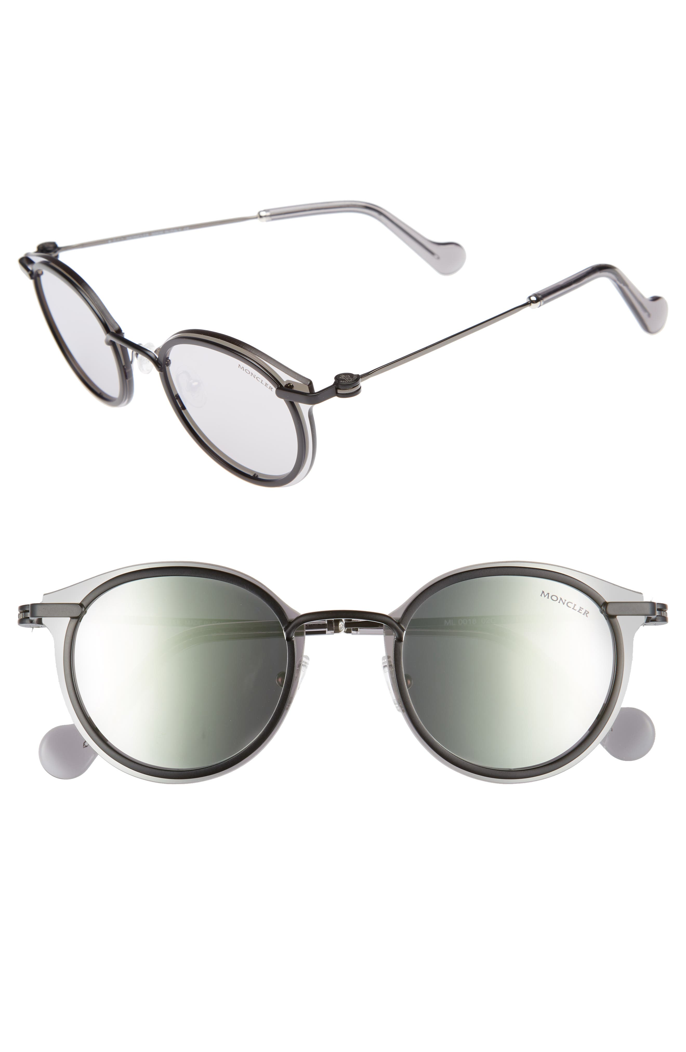 58mm Mirrored Round Sunglasses,                             Main thumbnail 1, color,                             001
