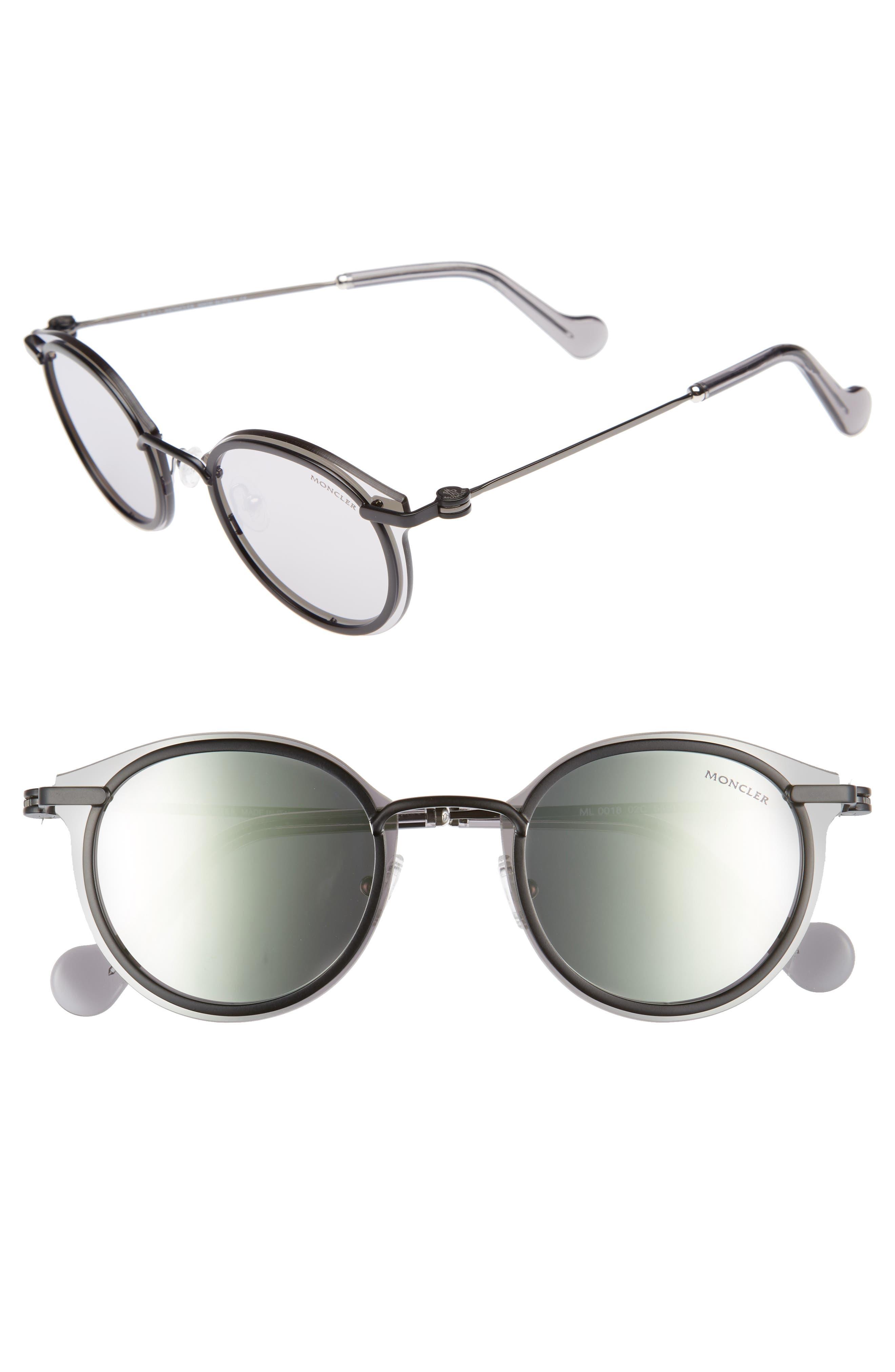 58mm Mirrored Round Sunglasses,                         Main,                         color, 001