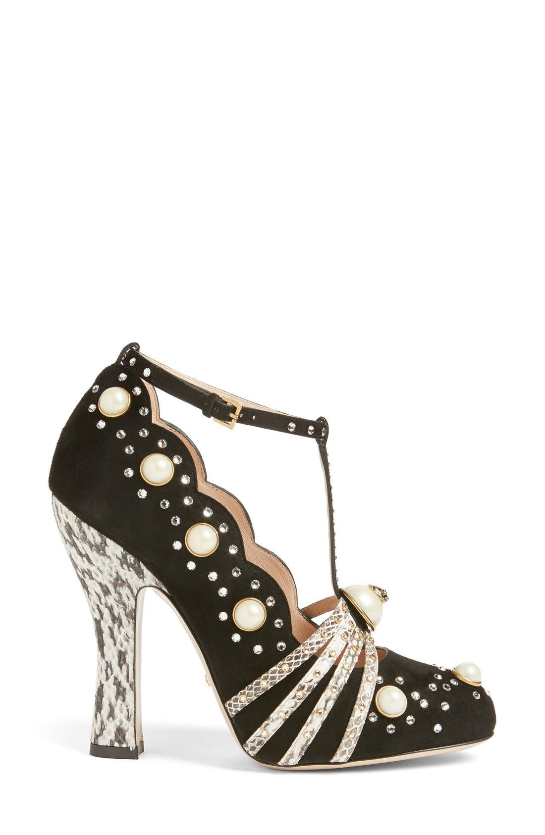 Ofelia Pearly Crystal Embellished Pump,                             Alternate thumbnail 4, color,                             001
