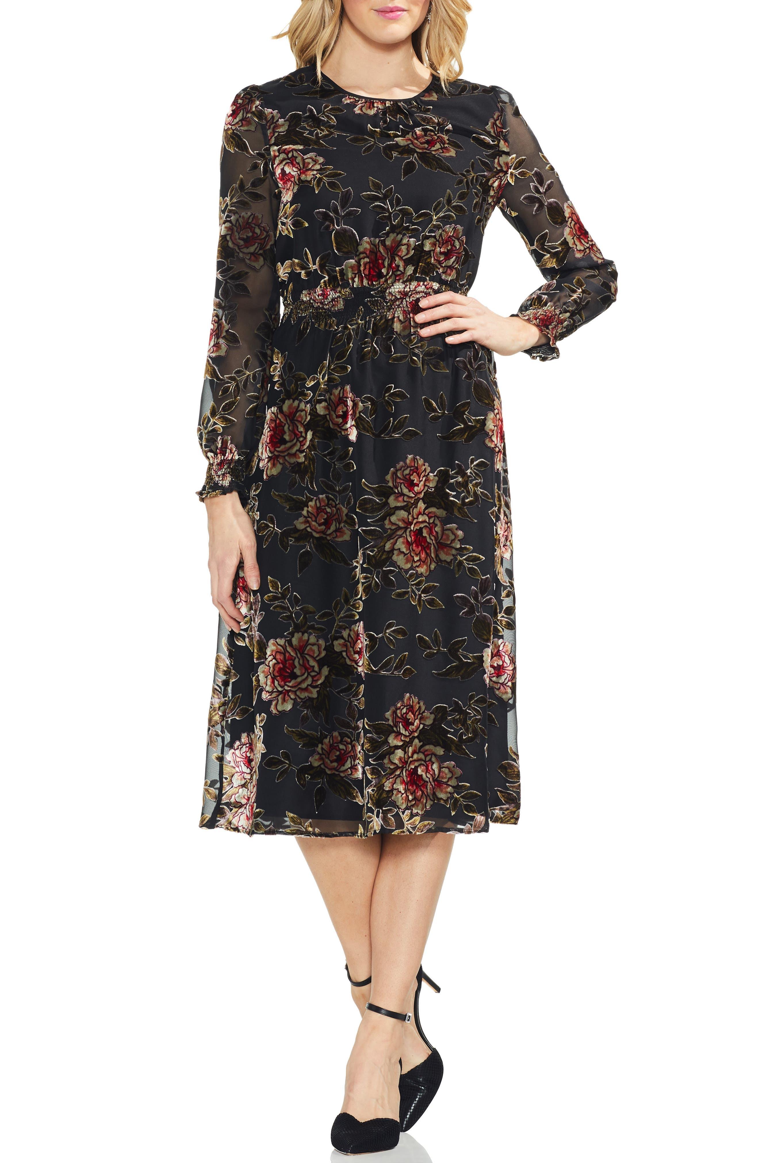 Velvet Burnout Dress,                             Main thumbnail 1, color,                             RICH BLACK