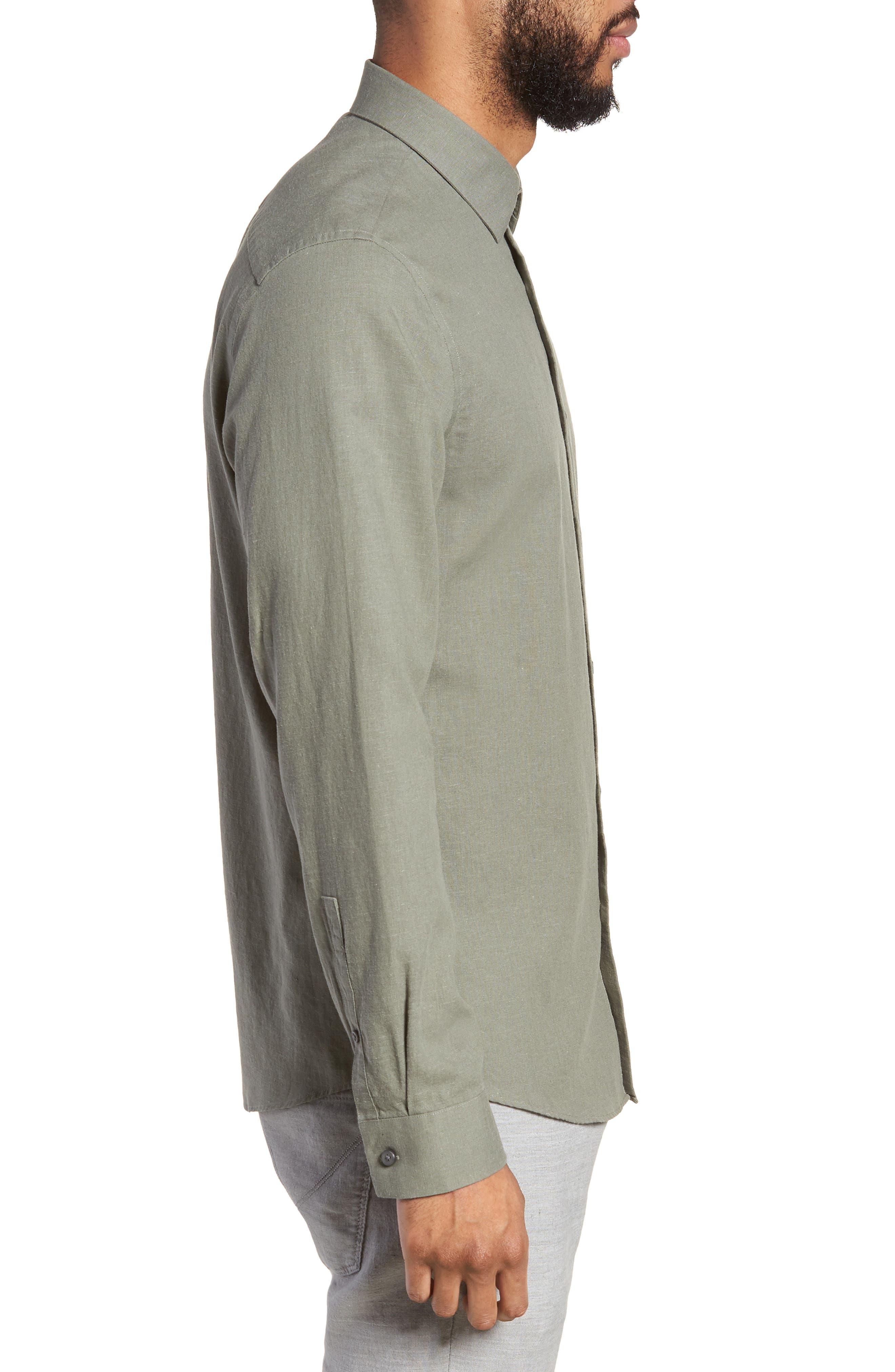 Linen Blend Sport Shirt,                             Alternate thumbnail 3, color,                             021