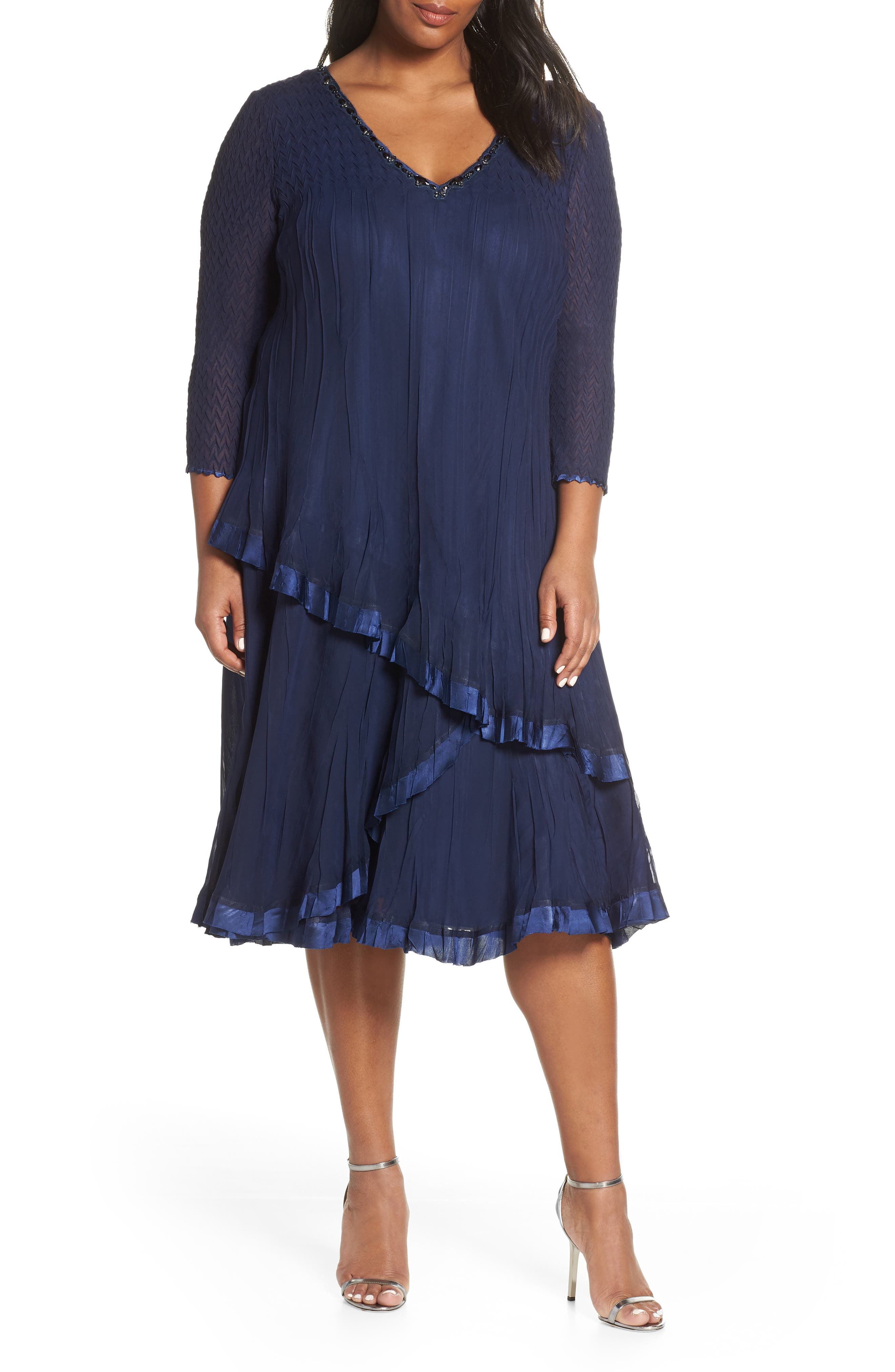 Beaded V-Neck Asymmetrical Tiered Cocktail Dress,                             Main thumbnail 1, color,                             MIDNIGHT NAVY