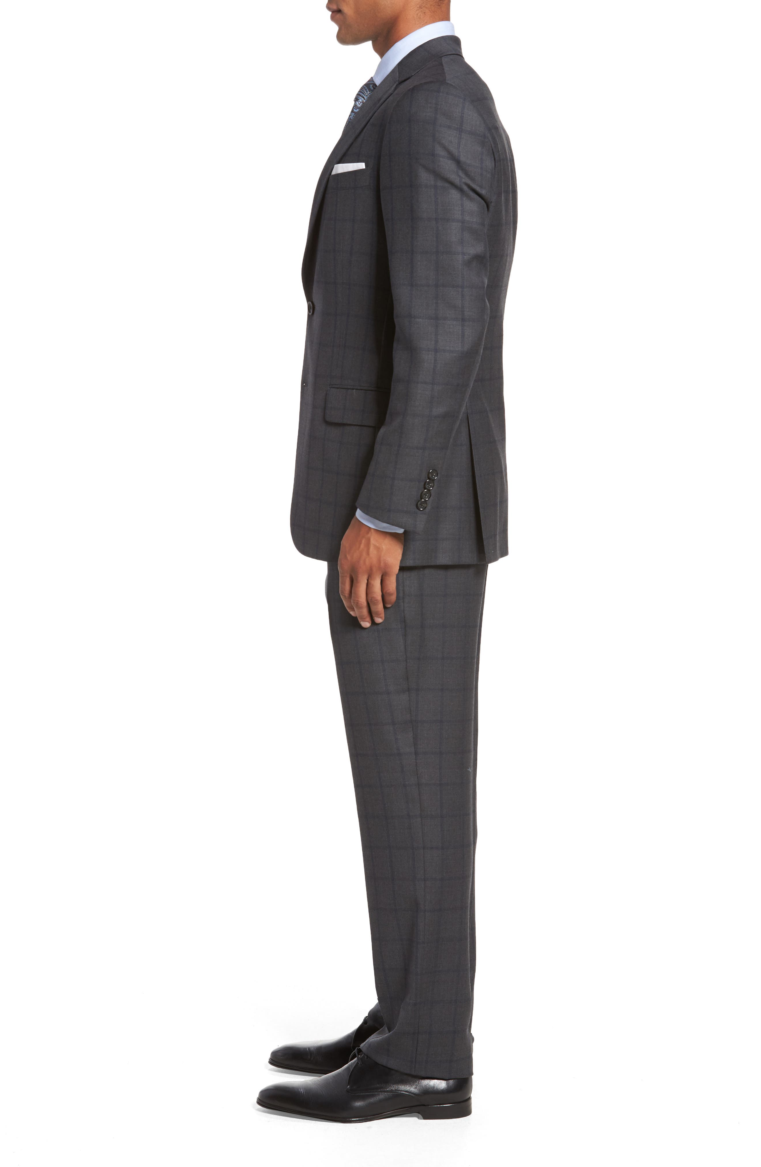 Classic Fit Windowpane Wool Suit,                             Alternate thumbnail 3, color,                             344