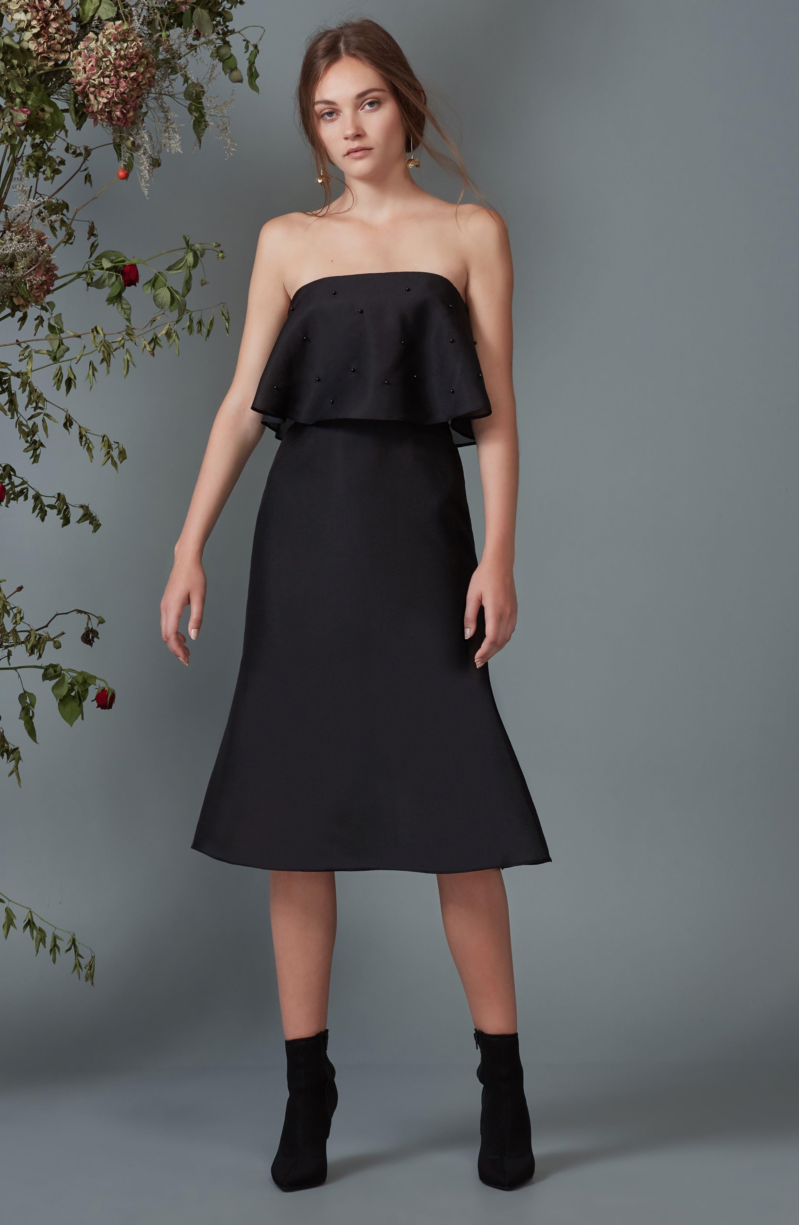 Call Me Strapless Dress,                             Alternate thumbnail 8, color,                             001