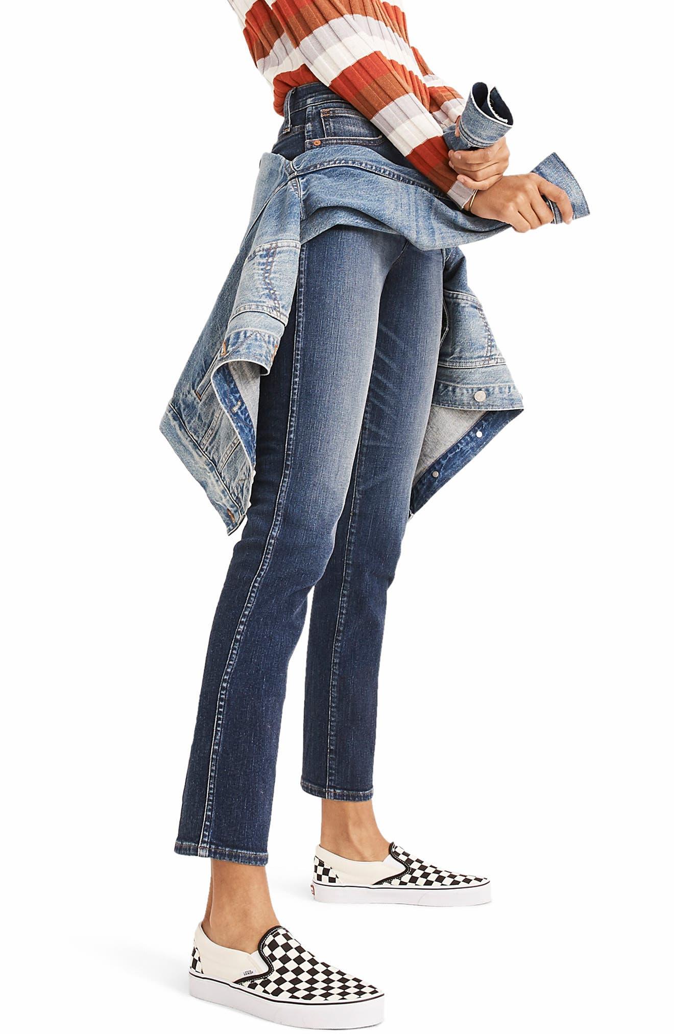 High Waist Slim Straight Leg Jeans,                             Alternate thumbnail 4, color,                             HAMMOND