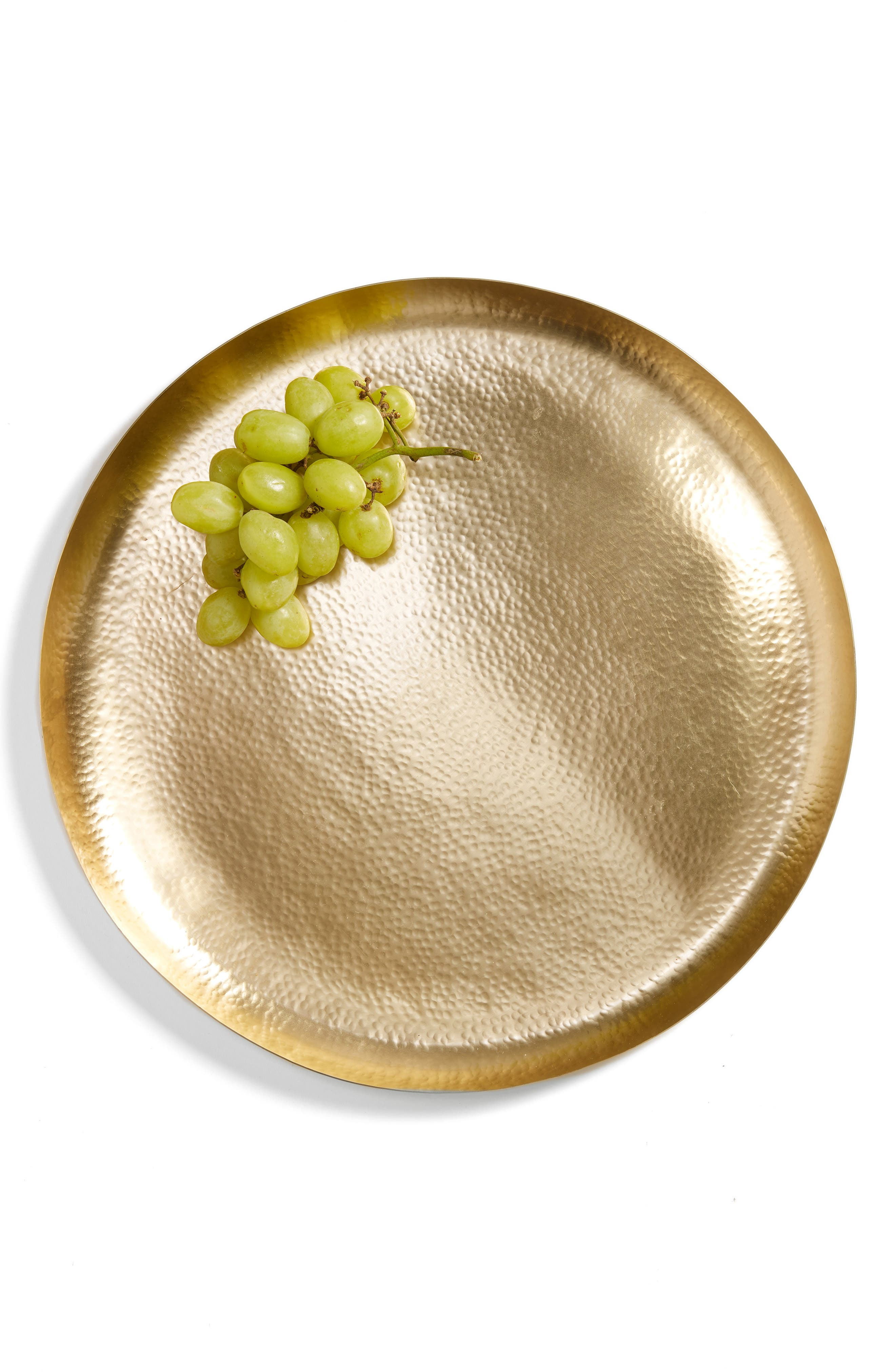 Large Hammered Metal Round Tray, Main, color, 710