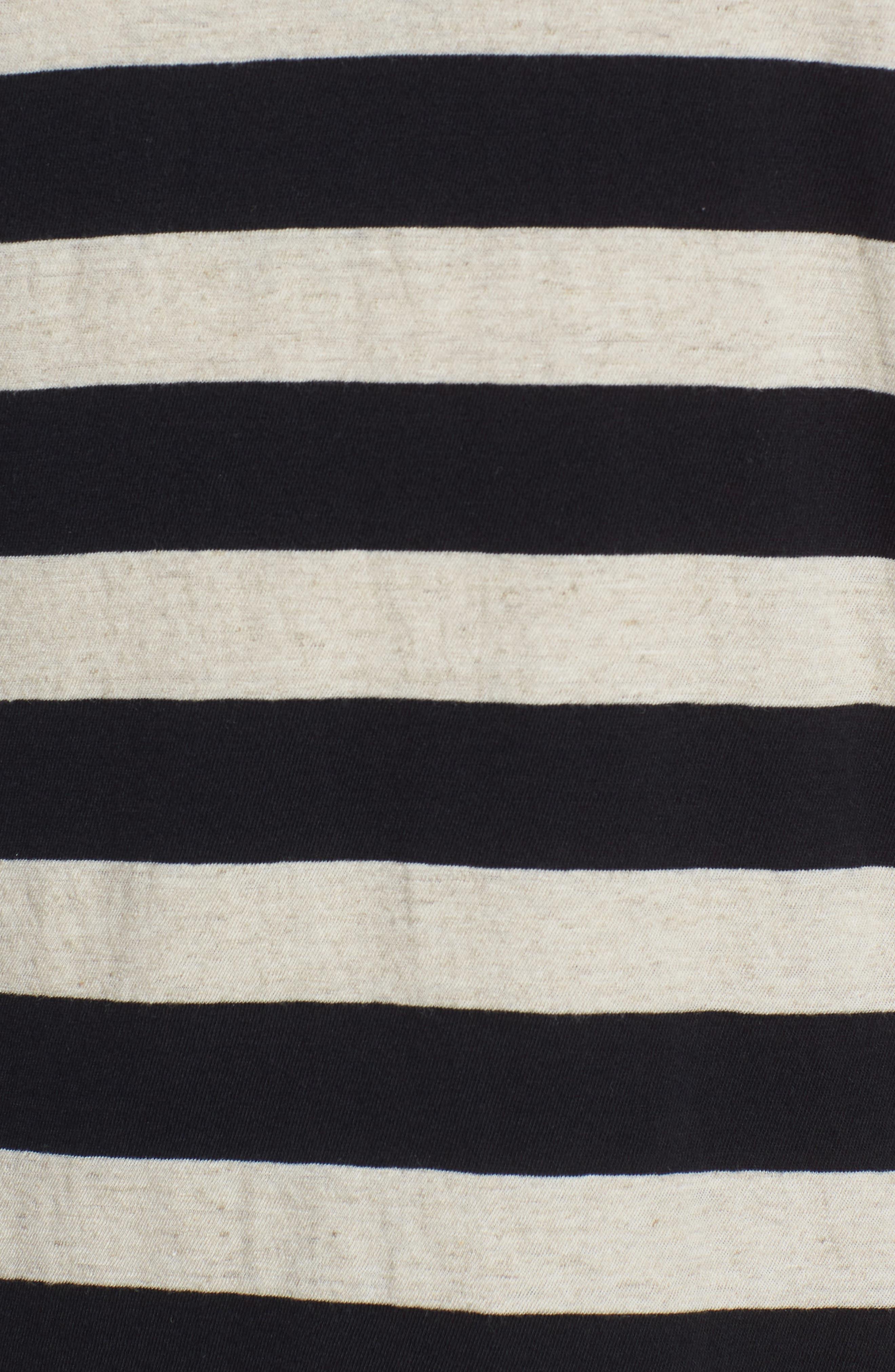Stripe Regular Fit Shirt,                             Alternate thumbnail 5, color,                             LINEN/ BLACK