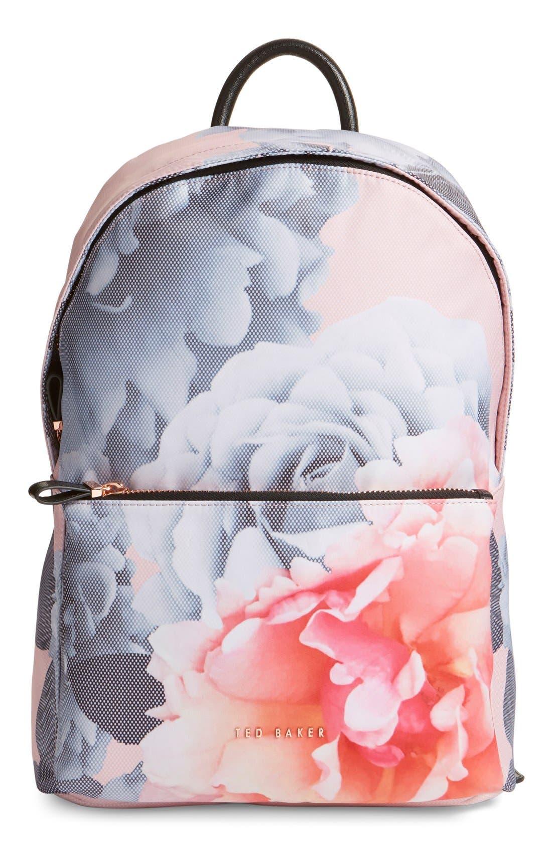 'Mariesa' Floral Print Backpack,                             Main thumbnail 1, color,                             672