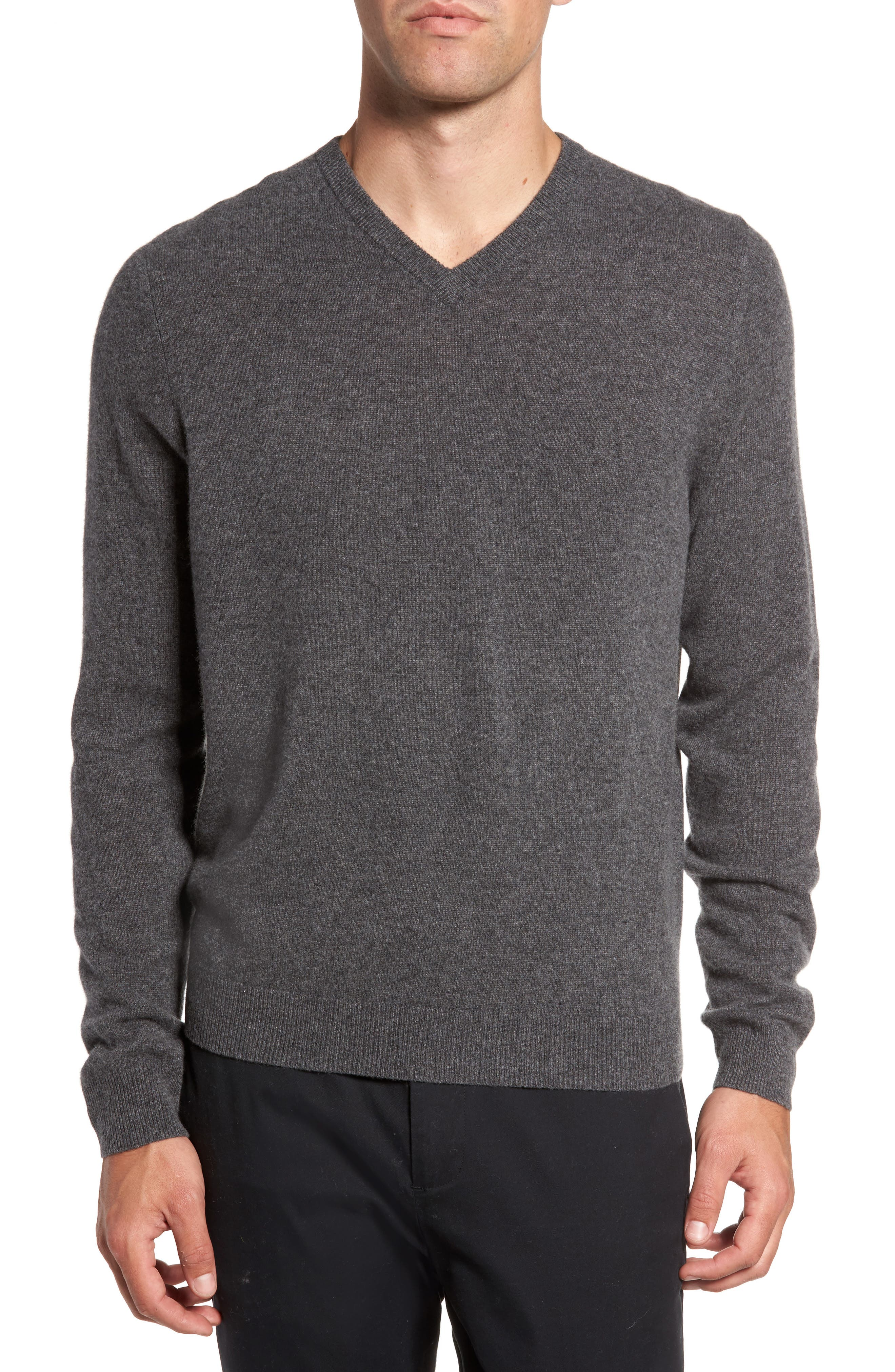Cashmere V-Neck Sweater,                             Main thumbnail 1, color,                             GREY SHADE