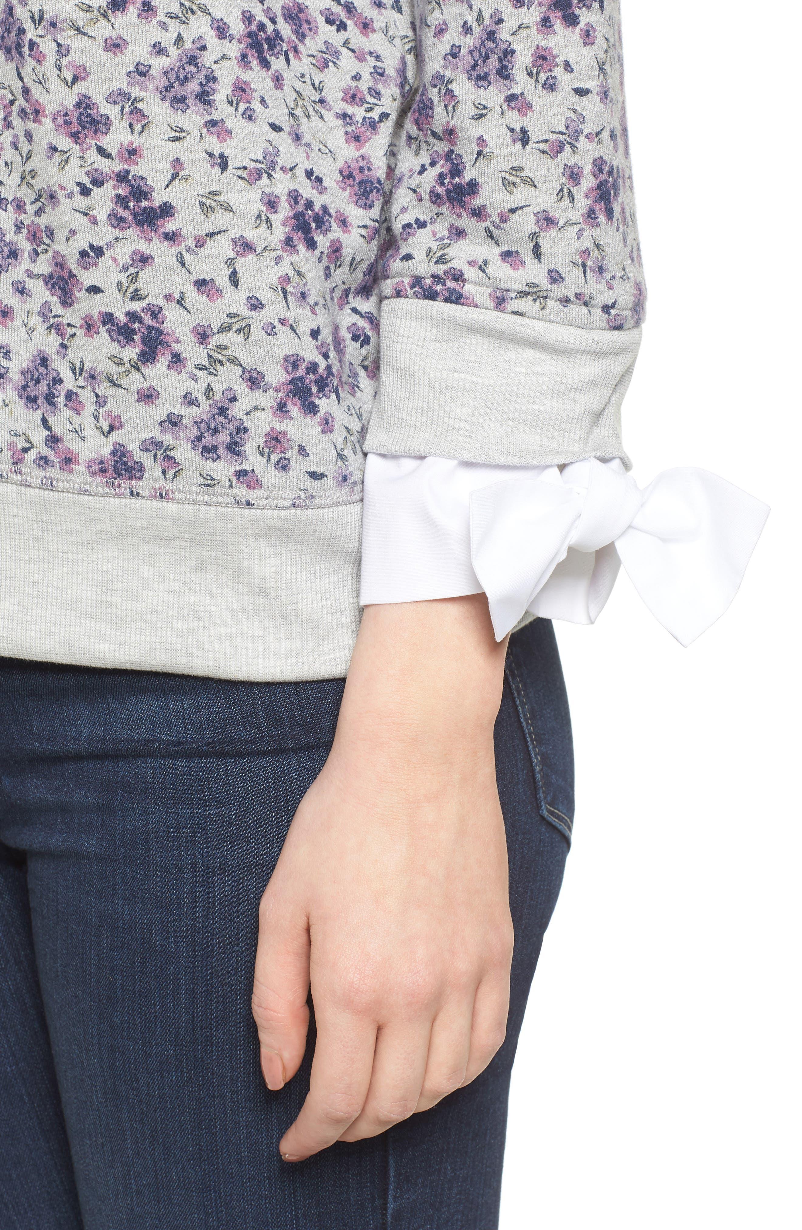 Poplin Cuff Sweatshirt,                             Alternate thumbnail 4, color,                             GREY FLORAL W/ WHITE POPLIN