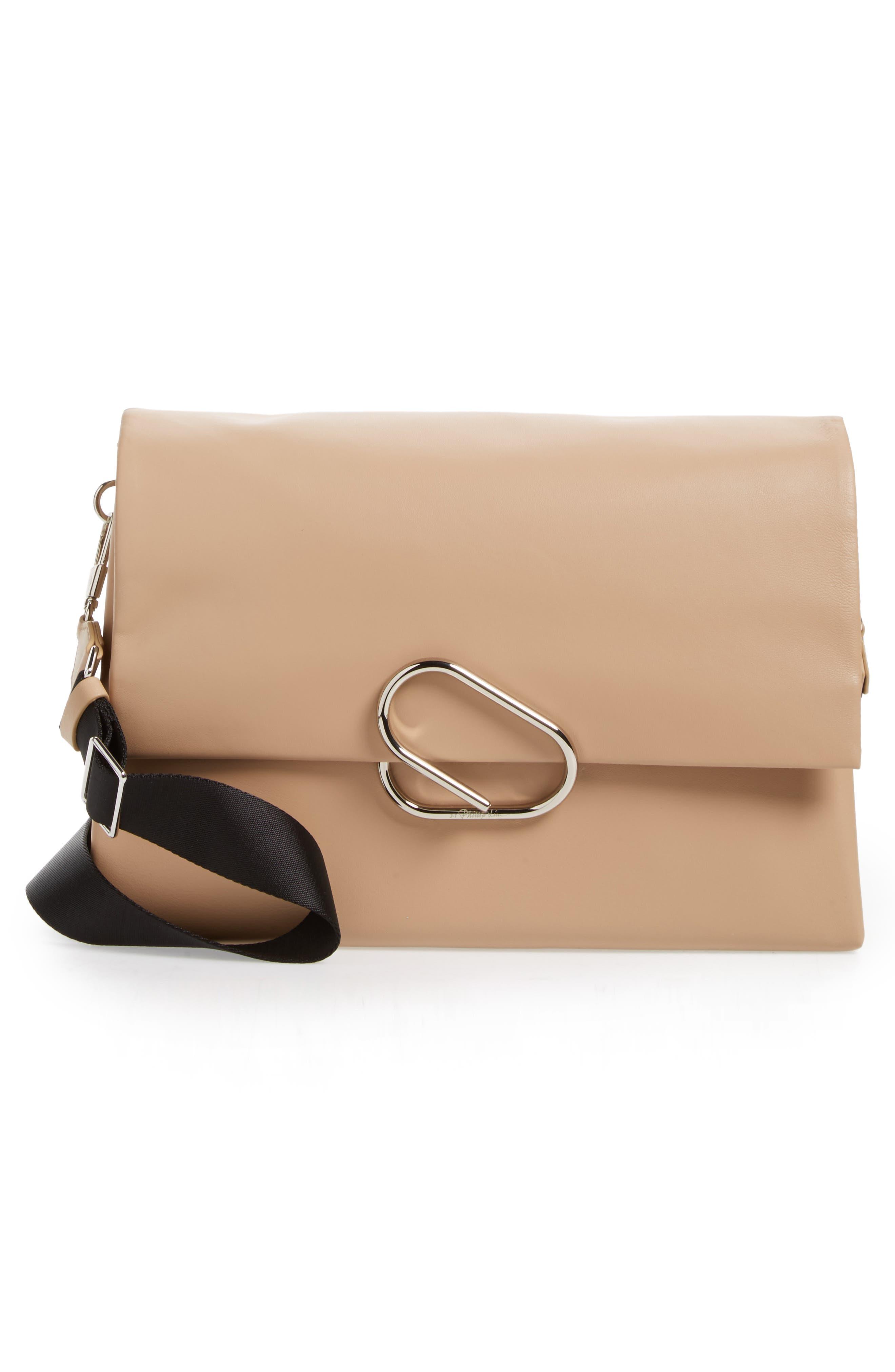 Oversized Alix Flap Leather Shoulder Bag,                             Alternate thumbnail 3, color,                             260