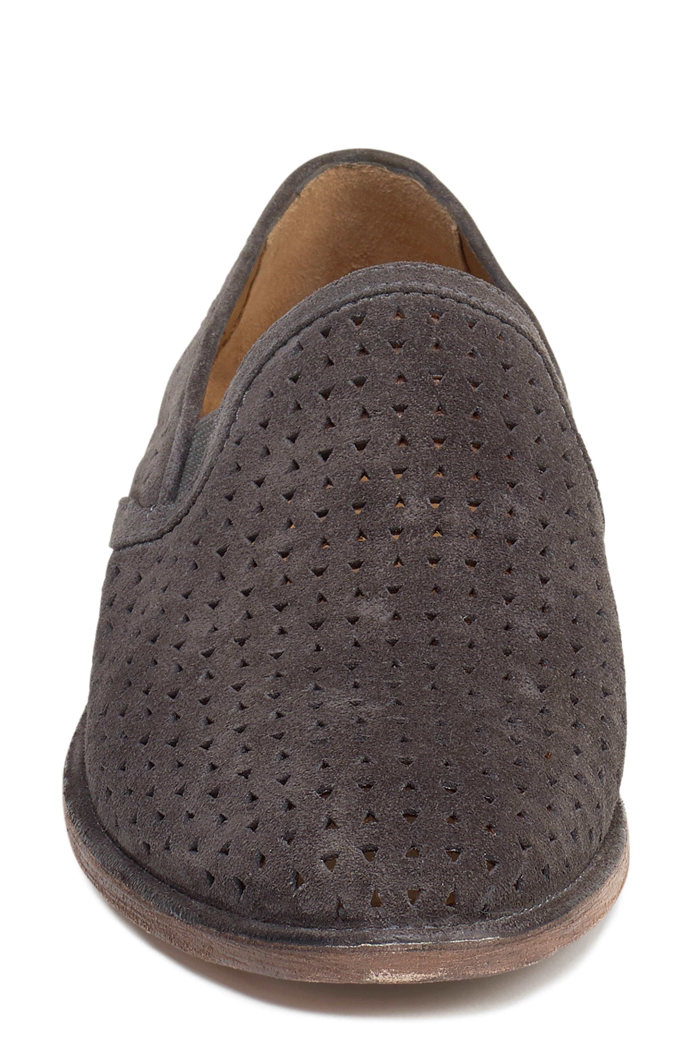 Ali Perforated Loafer,                             Alternate thumbnail 4, color,                             GREY SUEDE