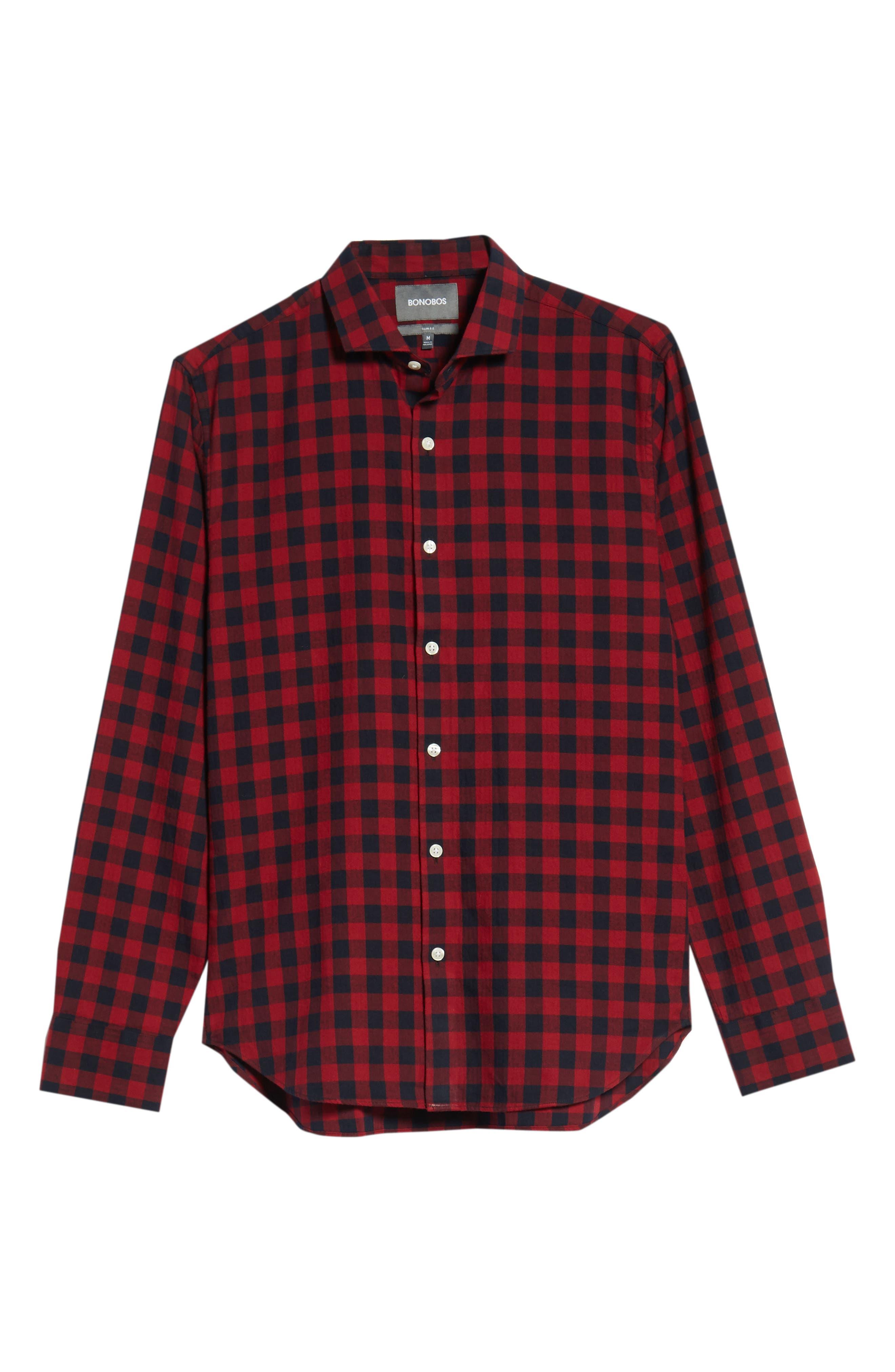 Unbutton Down Slim Fit Sport Shirt,                             Alternate thumbnail 6, color,                             GARNET
