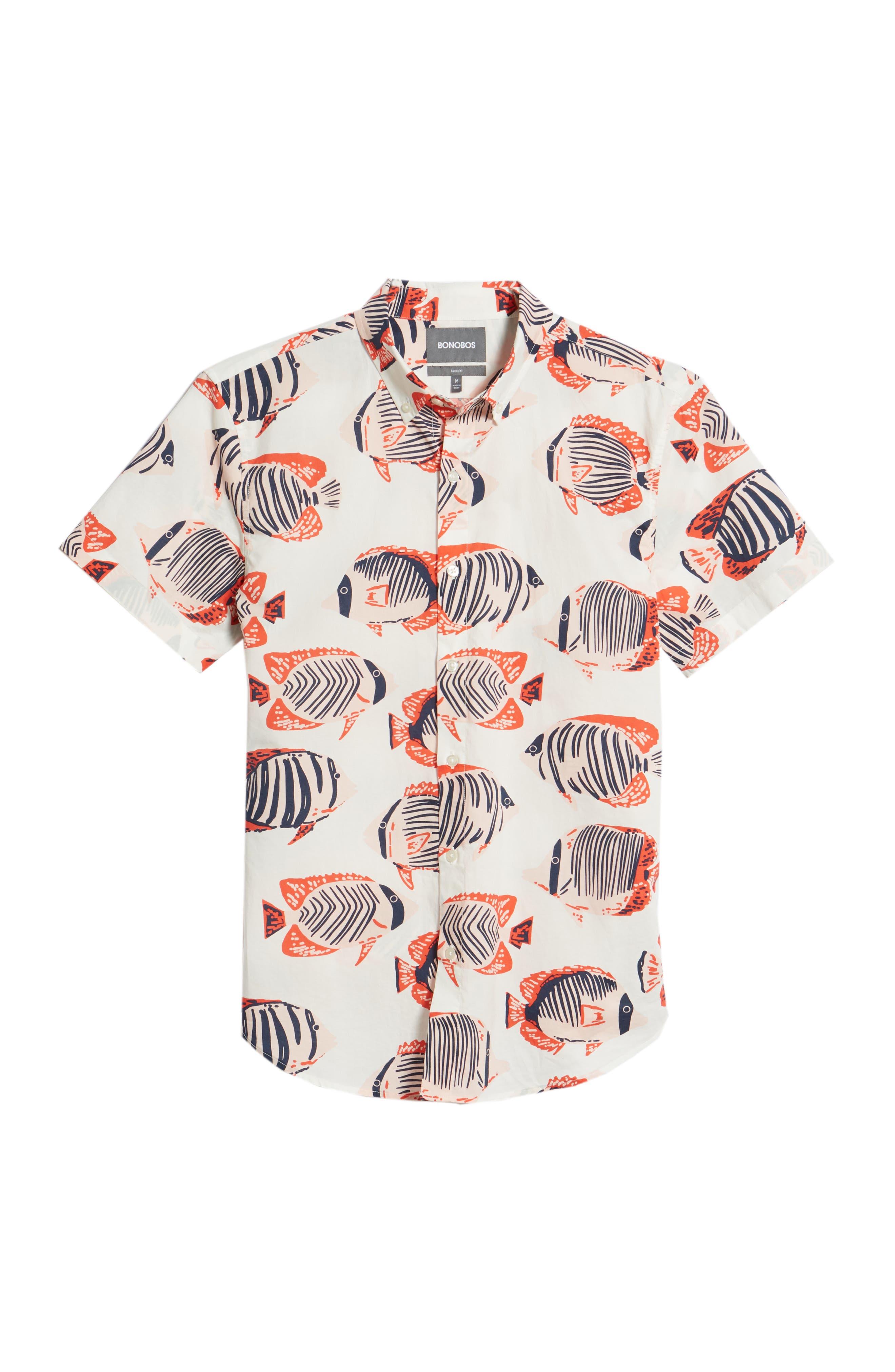Riviera Slim Fit Fish Print Sport Shirt,                             Alternate thumbnail 6, color,                             100