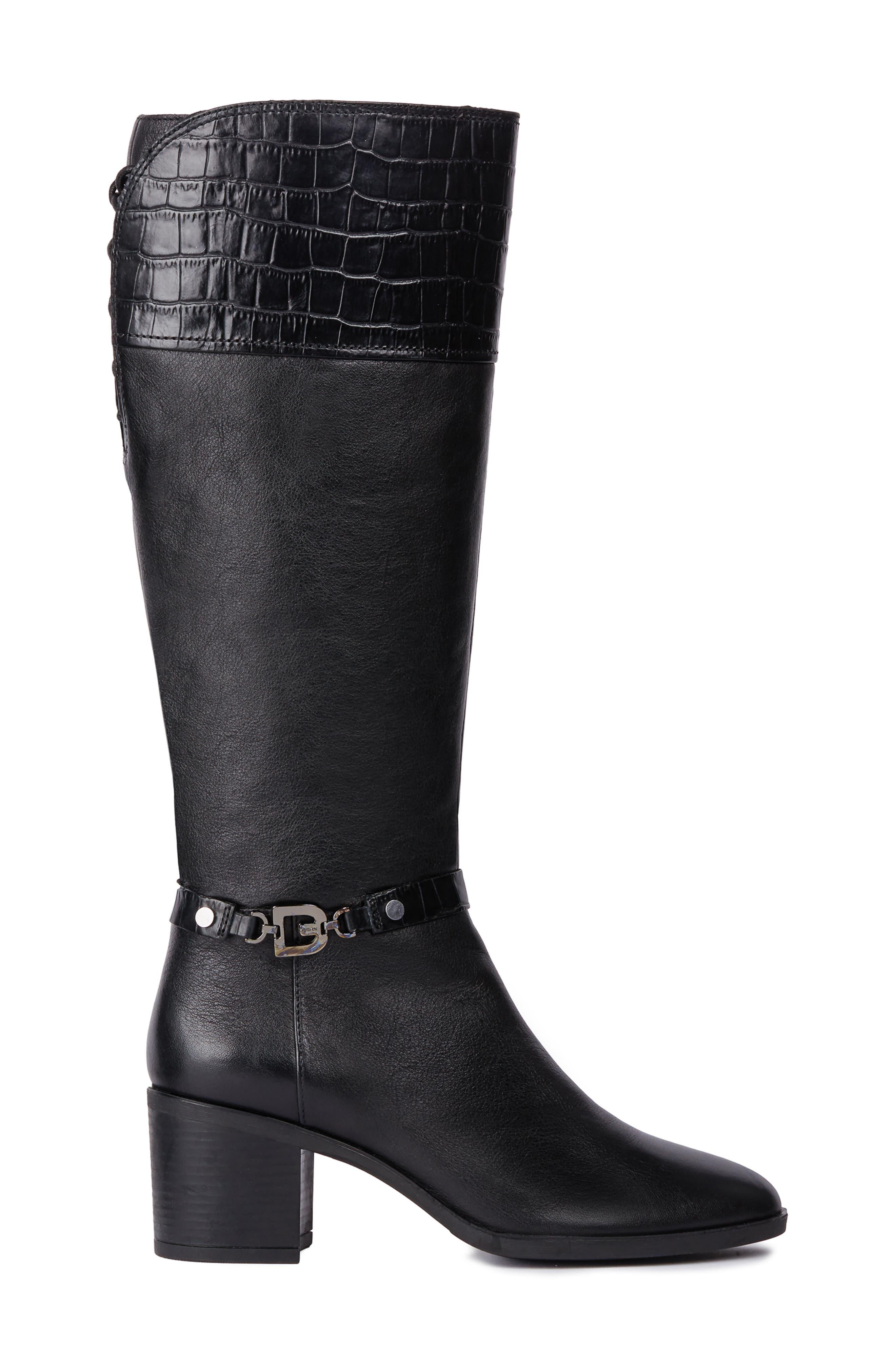 Glynna Knee High Boot,                             Alternate thumbnail 3, color,                             BLACK/ BLACK LEATHER