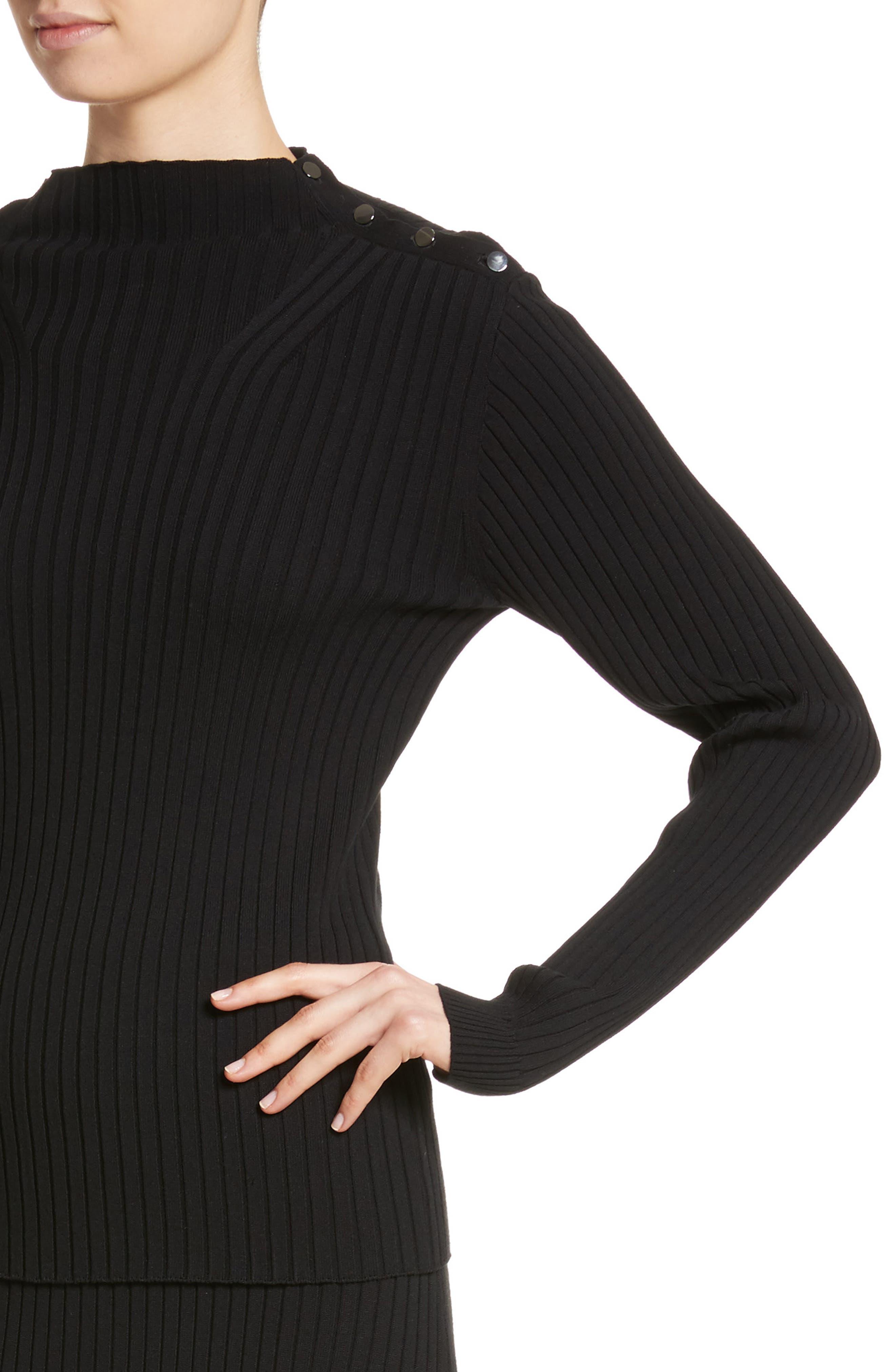 Flat Rib Knit Mock Neck Sweater,                             Alternate thumbnail 4, color,                             001