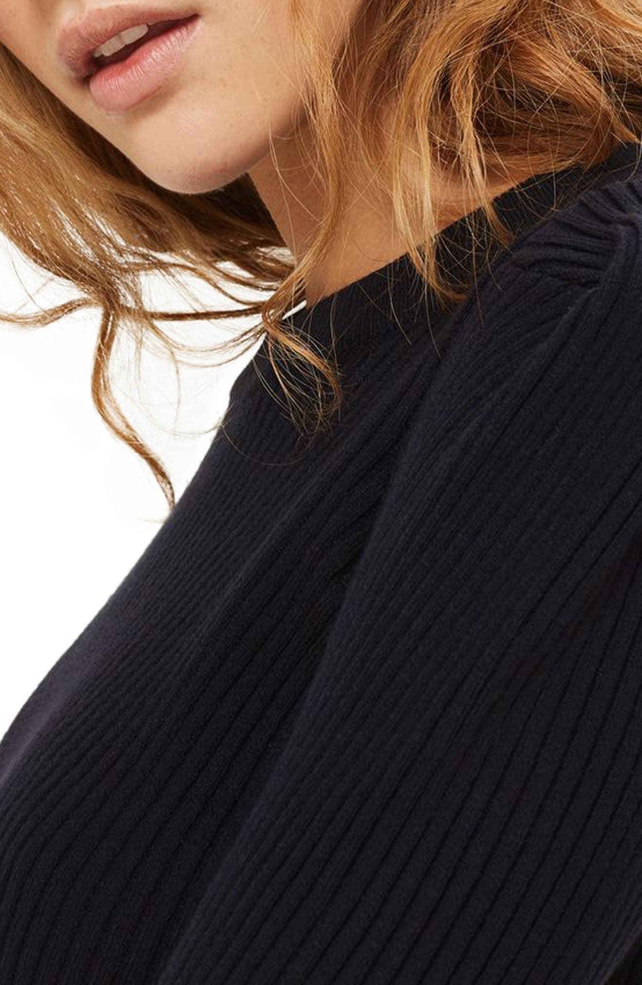 TOPSHOP,                             Puff Sleeve Ribbed Sweater,                             Alternate thumbnail 3, color,                             410