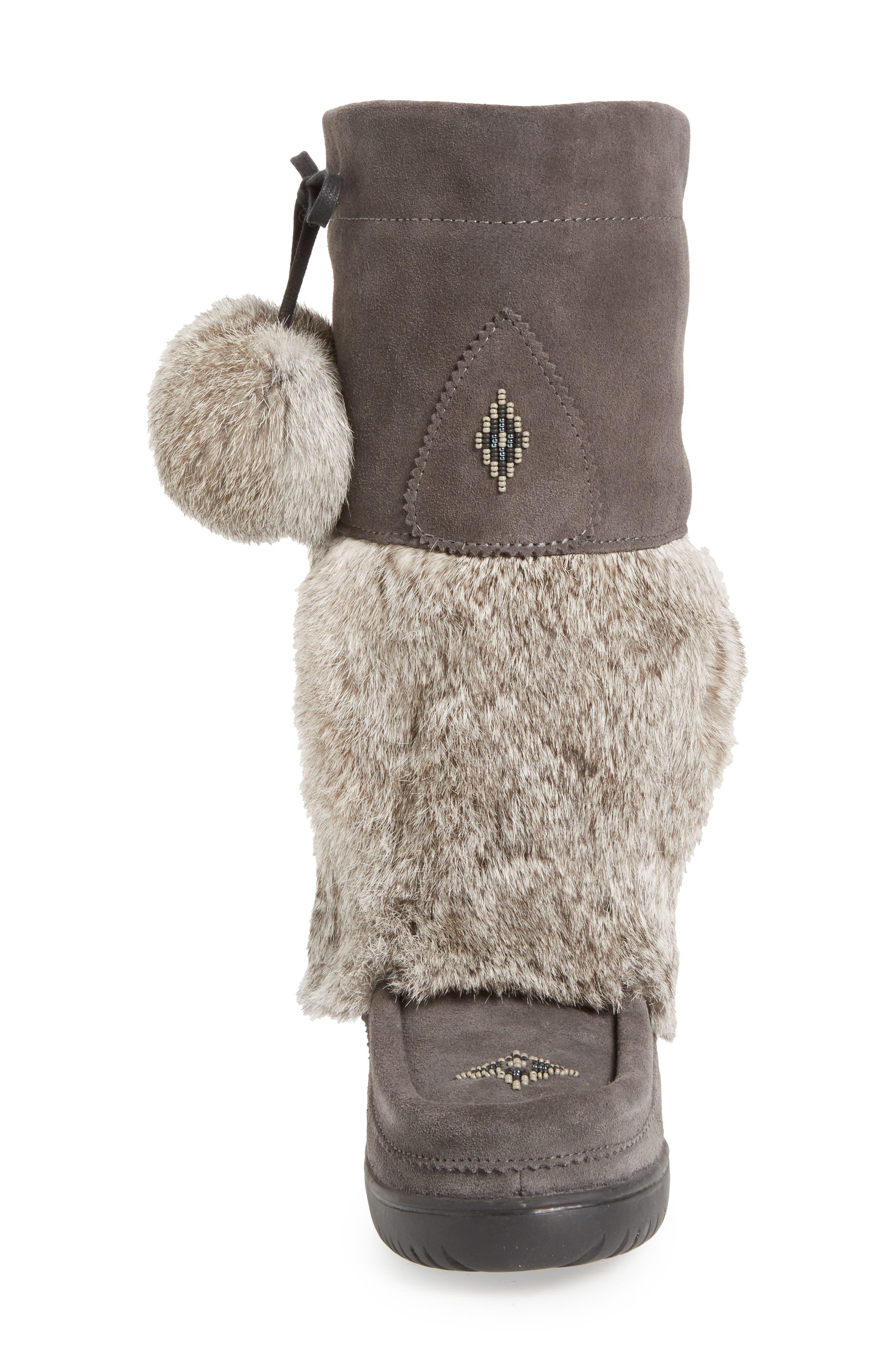 Snowy Owl Waterproof Genuine Fur Boot,                             Alternate thumbnail 6, color,