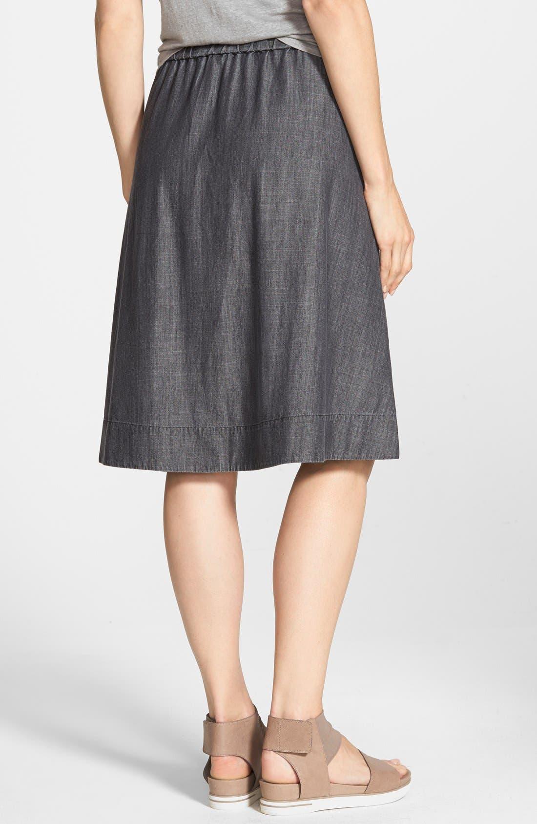 Gathered Chambray Skirt,                             Alternate thumbnail 2, color,                             001