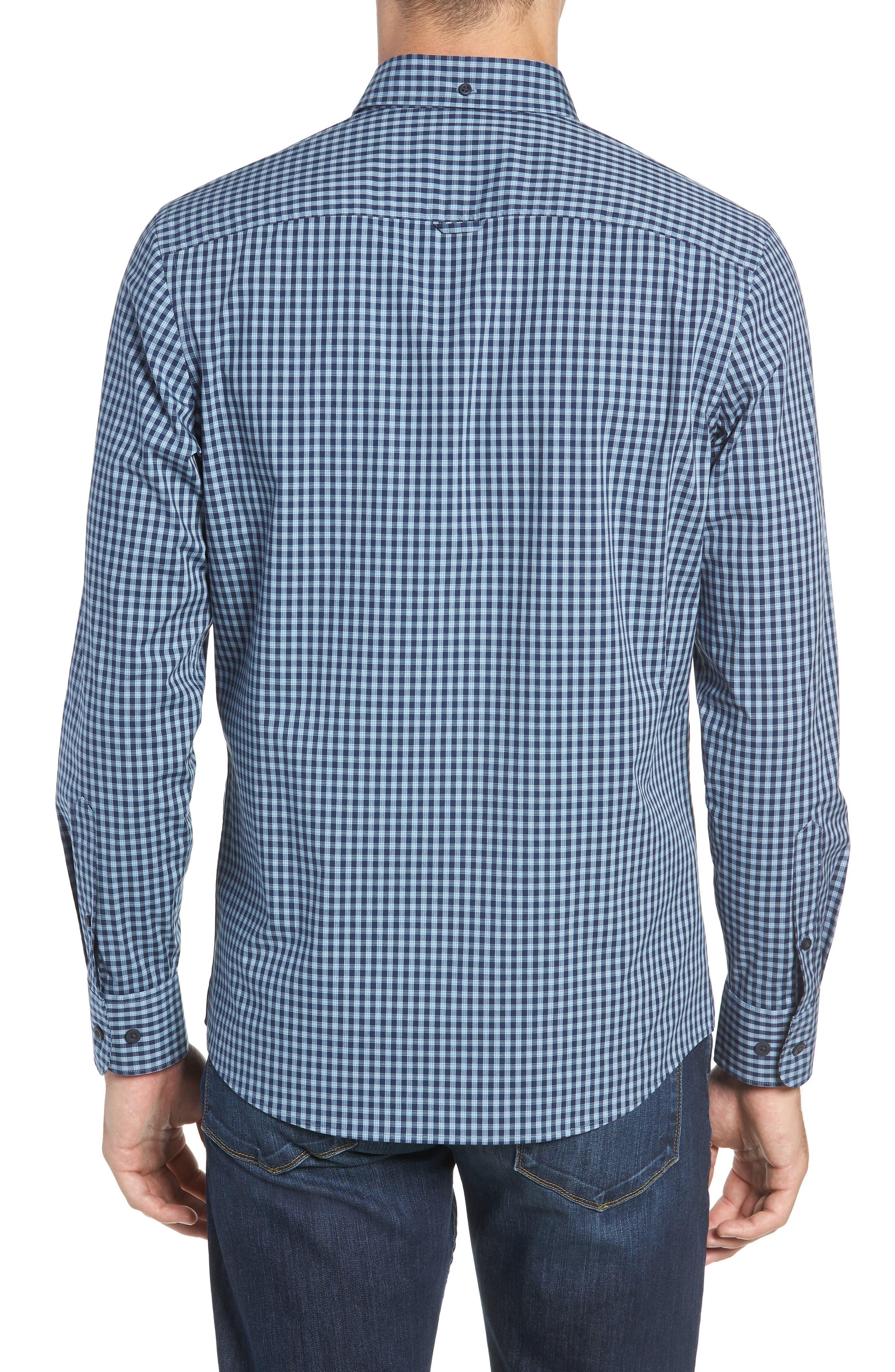 Tech-Smart Slim Fit Check Sport Shirt,                             Alternate thumbnail 3, color,                             NAVY NIGHT BLUE CHECK