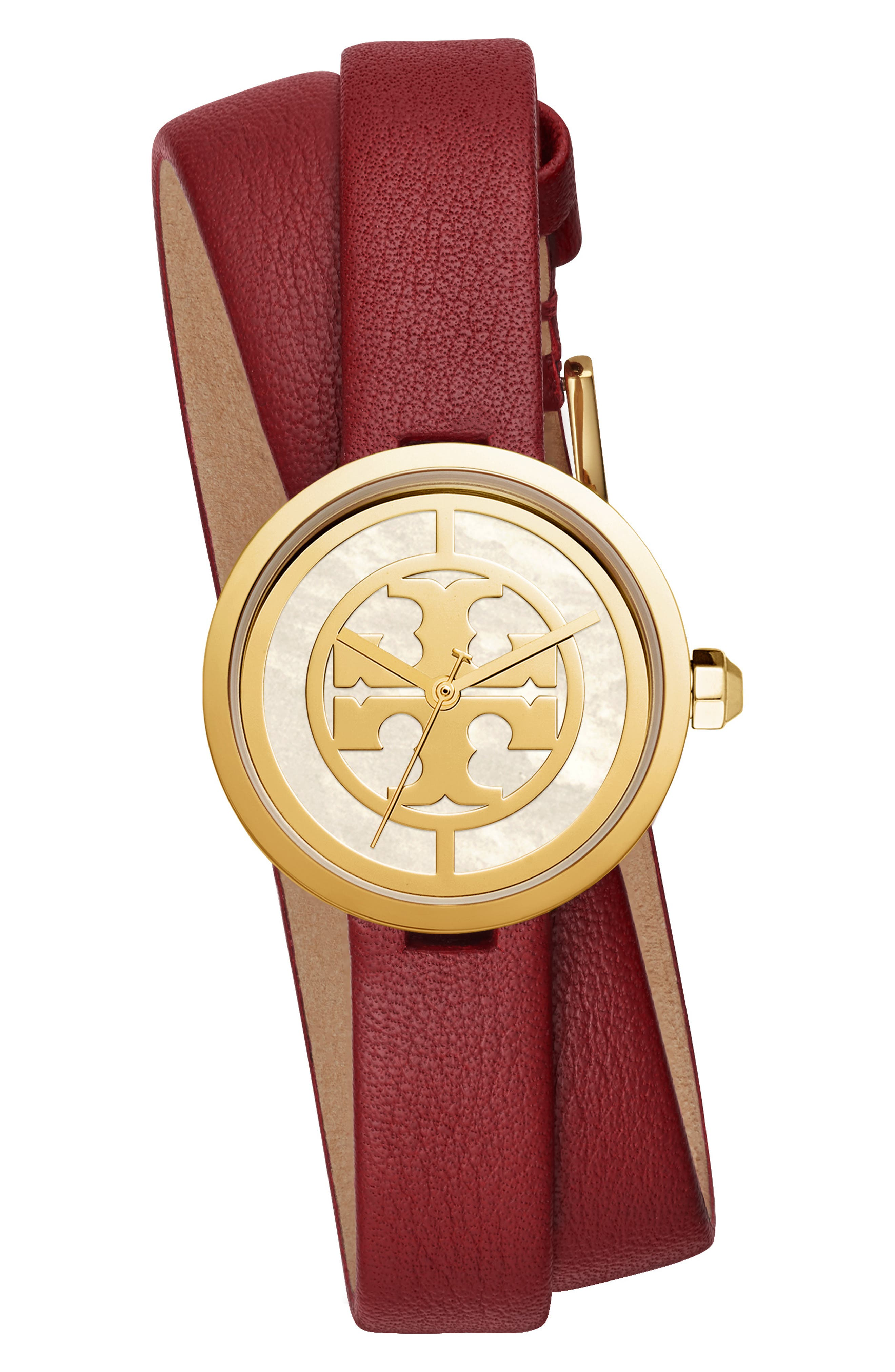 Reva Double Wrap Leather Strap Watch, 29mm, Main, color, RED/ MOP/ GOLD