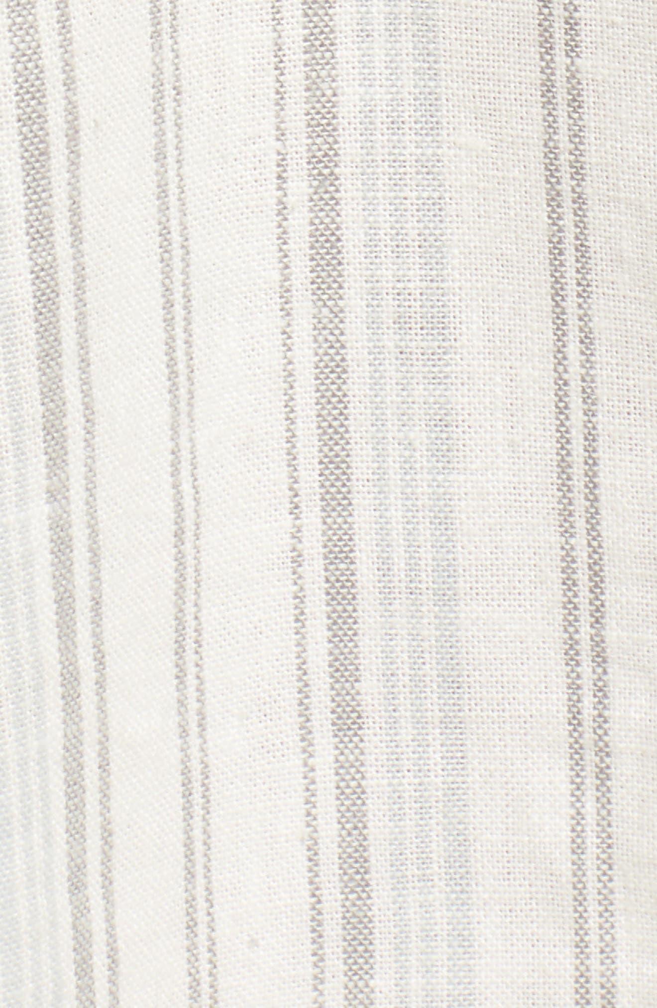 Stripe Linen Blend Midi Skirt,                             Alternate thumbnail 5, color,                             IVORY VERIGATED STRIPE